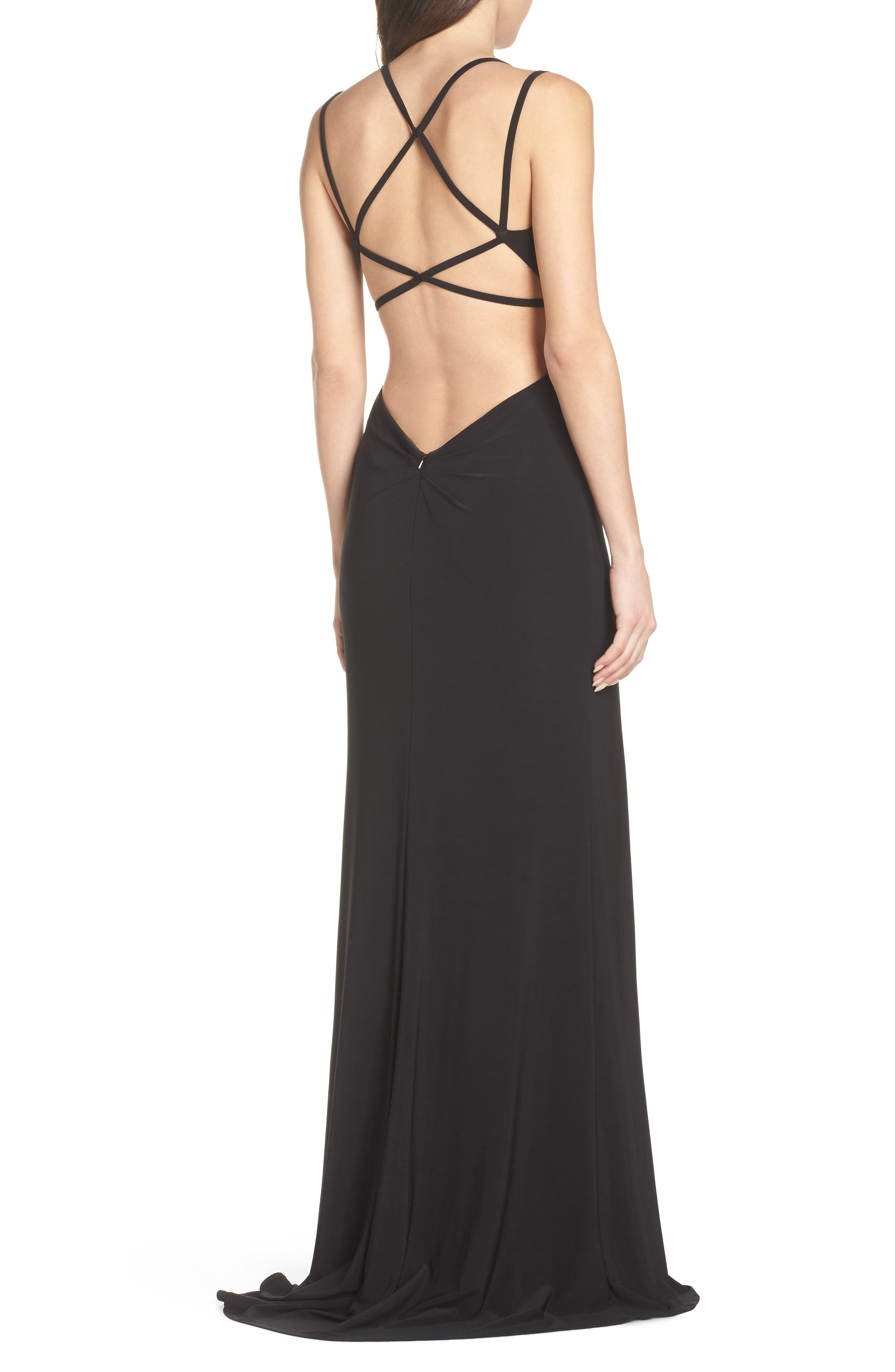 Open Back Jersey Gown,                             Alternate thumbnail 2, color,                             BLACK