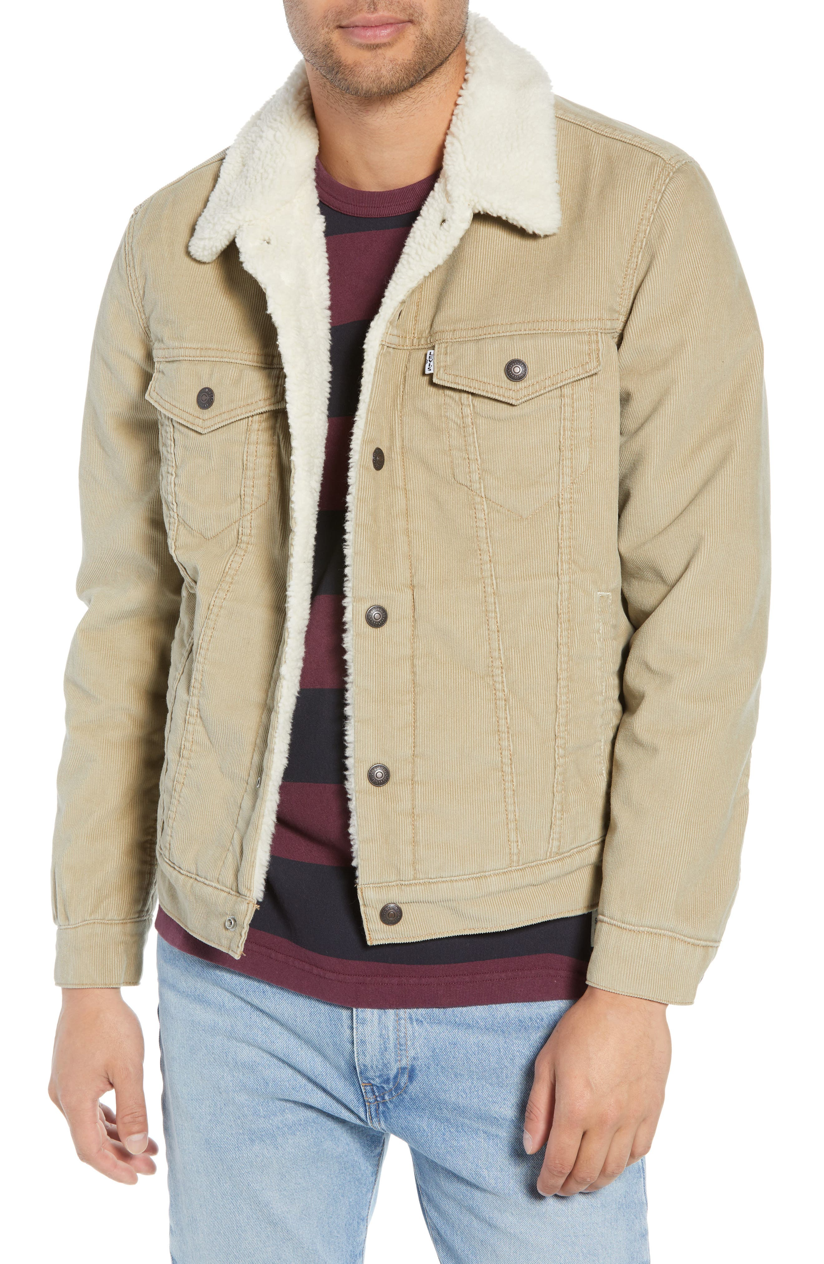 Type 3 Fleece Lined Trucker Jacket,                             Main thumbnail 1, color,                             TRUE CHINO CORD BETTER