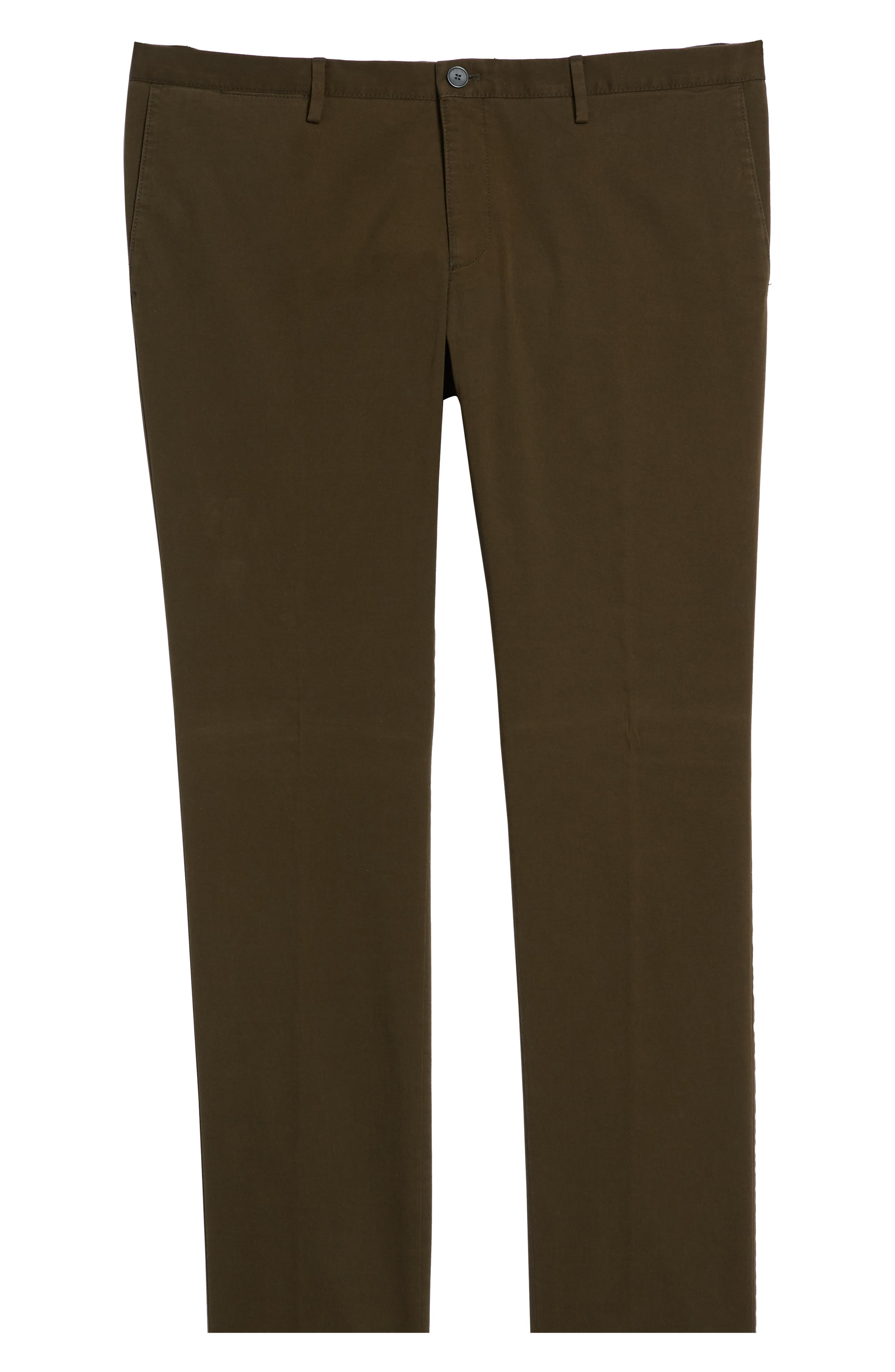 Stanino Flat Front Stretch Cotton Solid Trousers,                             Alternate thumbnail 6, color,                             OLIVE