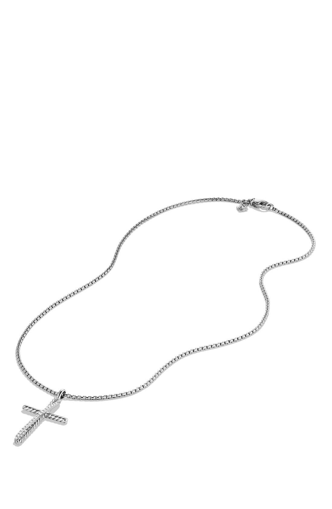 'Crossover' Cross Necklace,                             Alternate thumbnail 3, color,                             DIAMOND