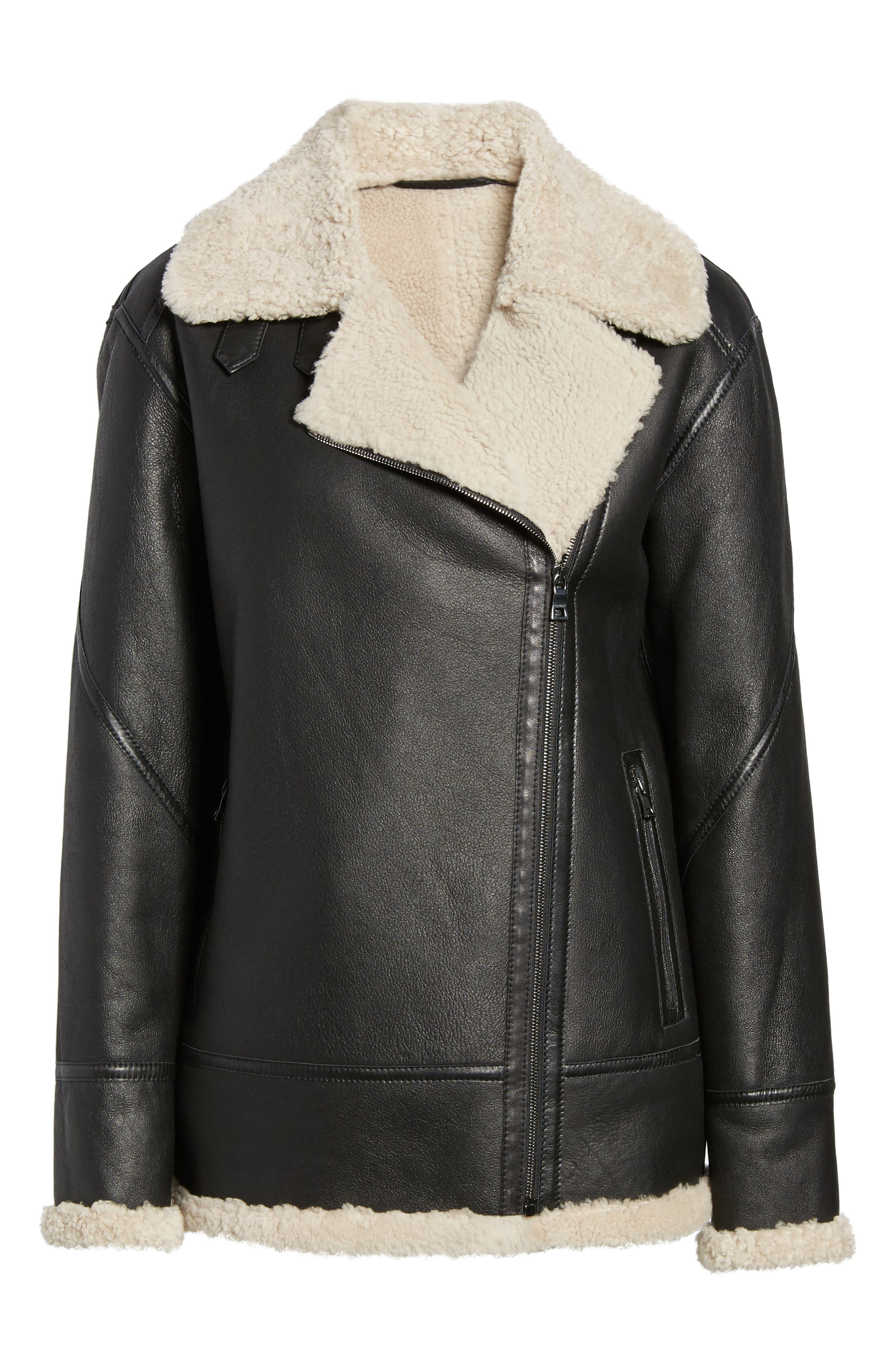 Genuine Shearling Aviator Jacket,                             Alternate thumbnail 5, color,                             001