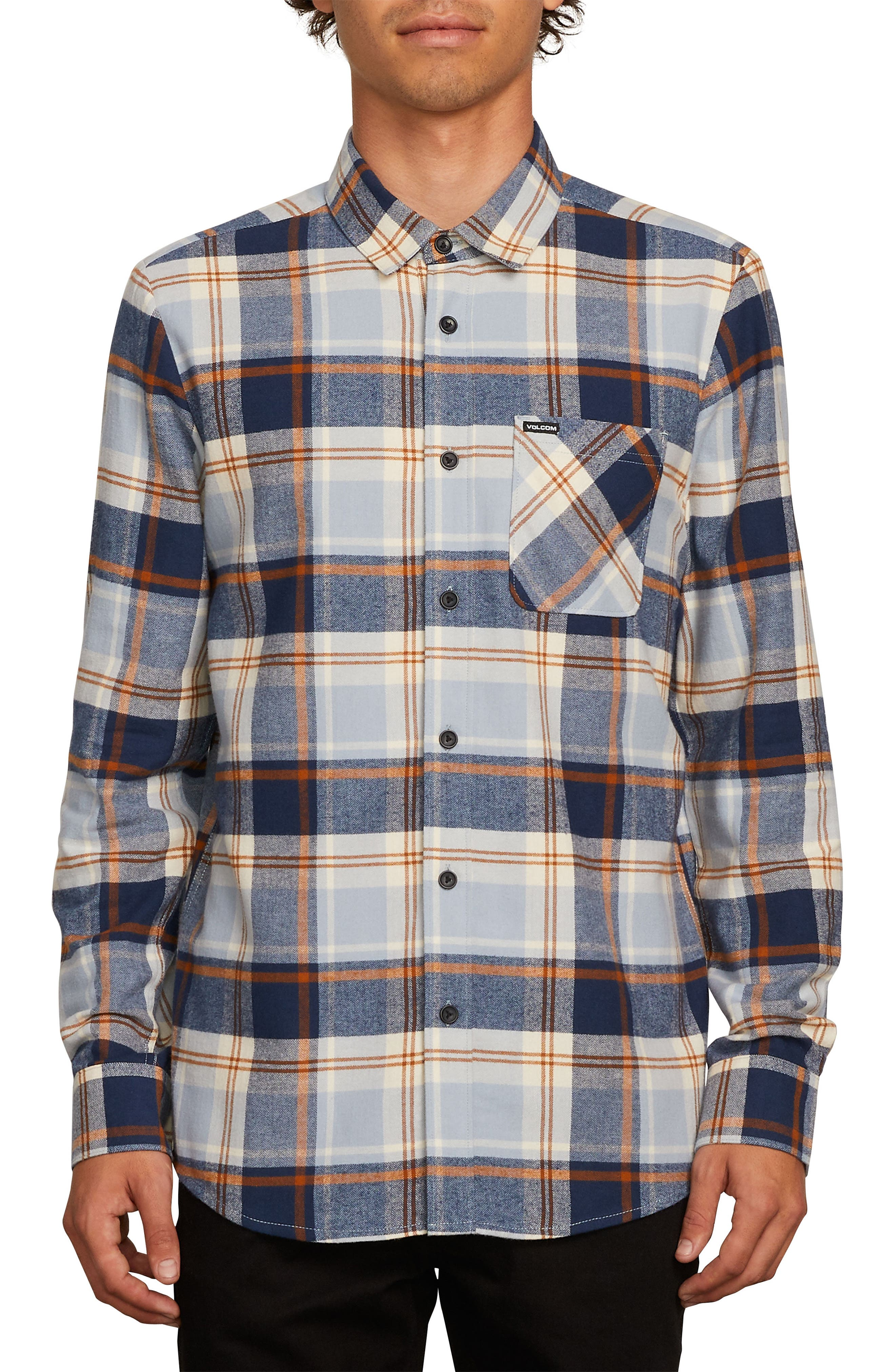 Caden Plaid Flannel Shirt,                             Main thumbnail 1, color,                             BLUE SLATE