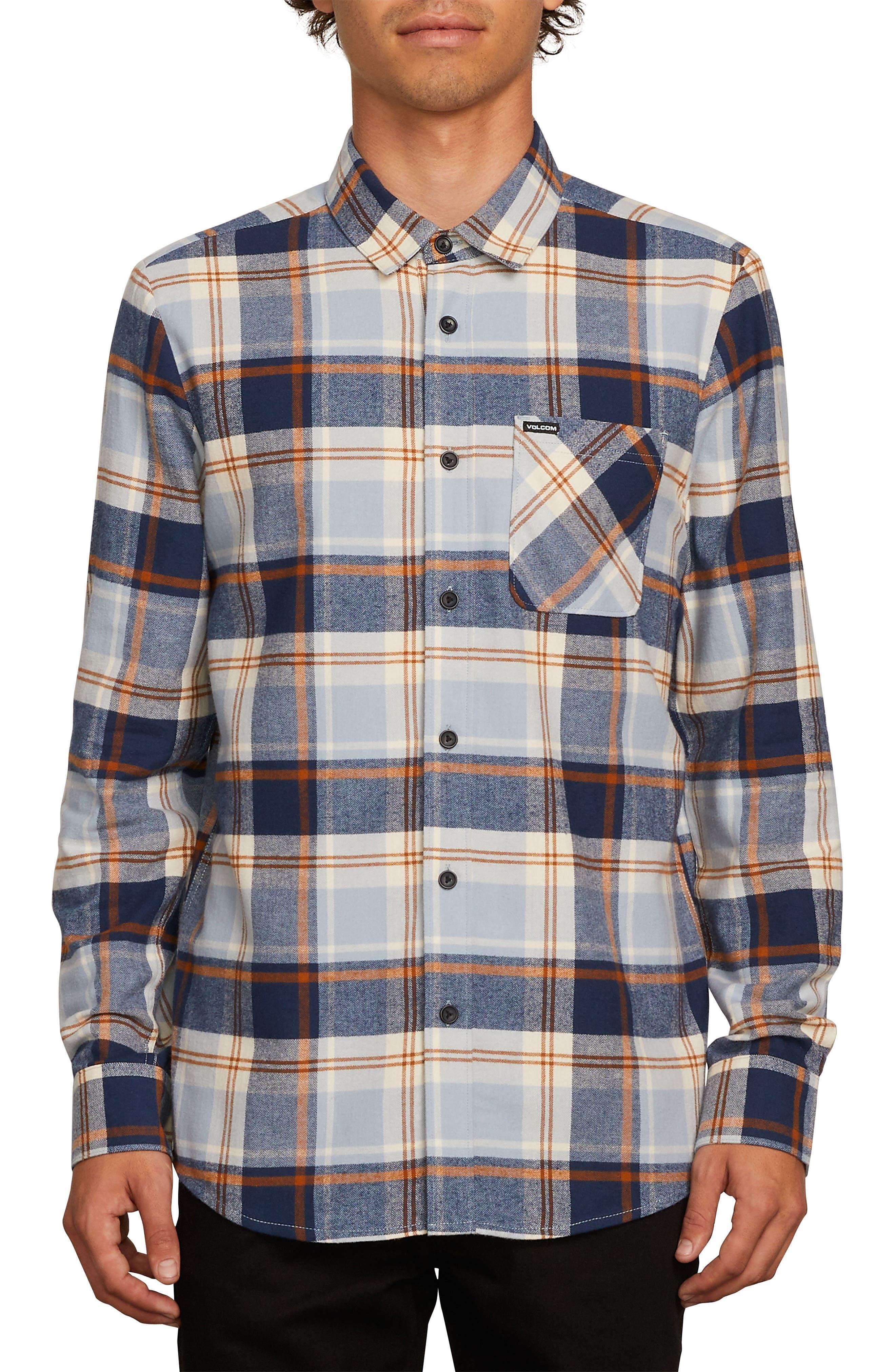 Caden Plaid Flannel Shirt,                         Main,                         color, BLUE SLATE