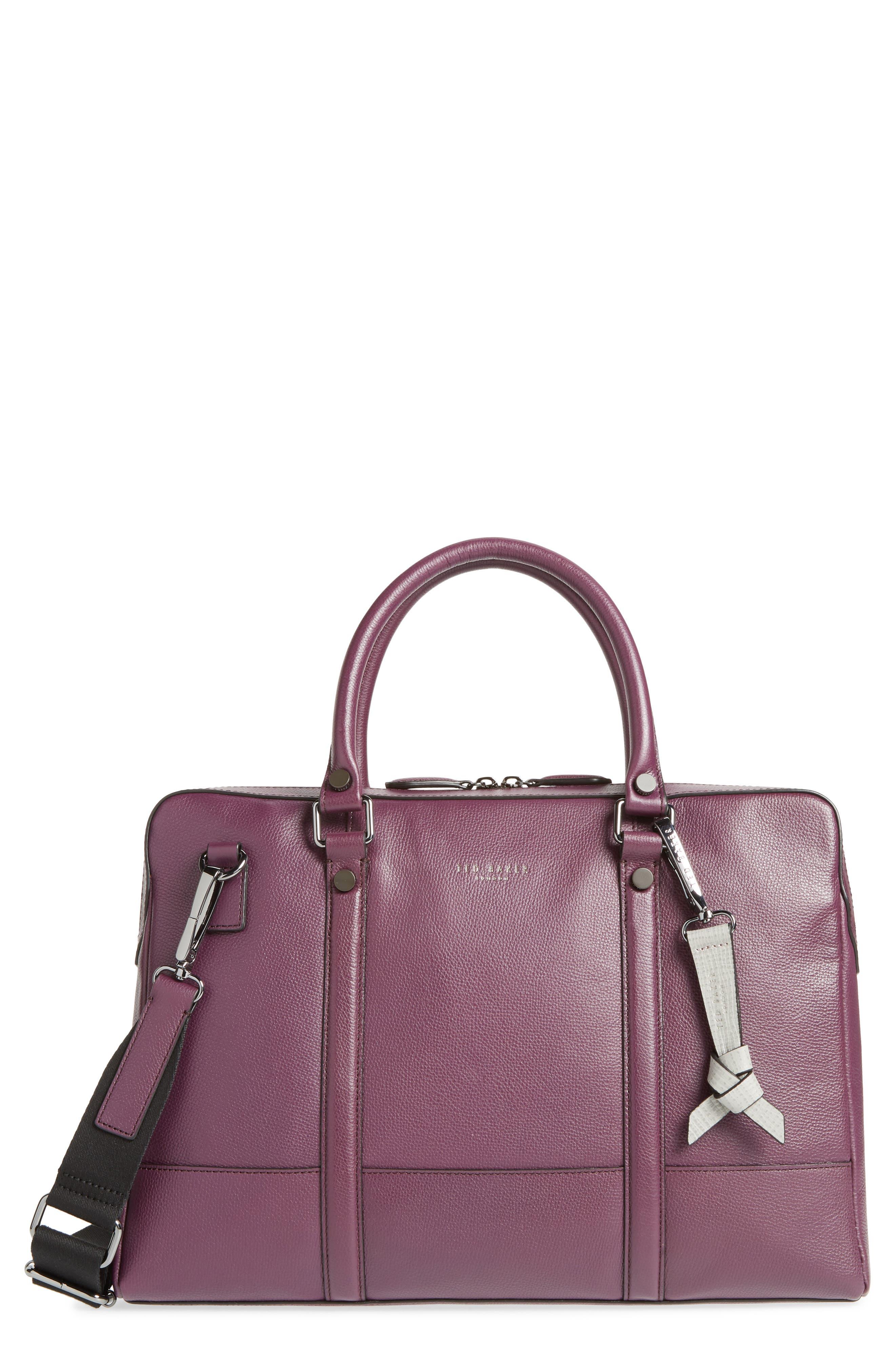 Hoooch Leather Briefcase,                         Main,                         color, DEEP PURPLE