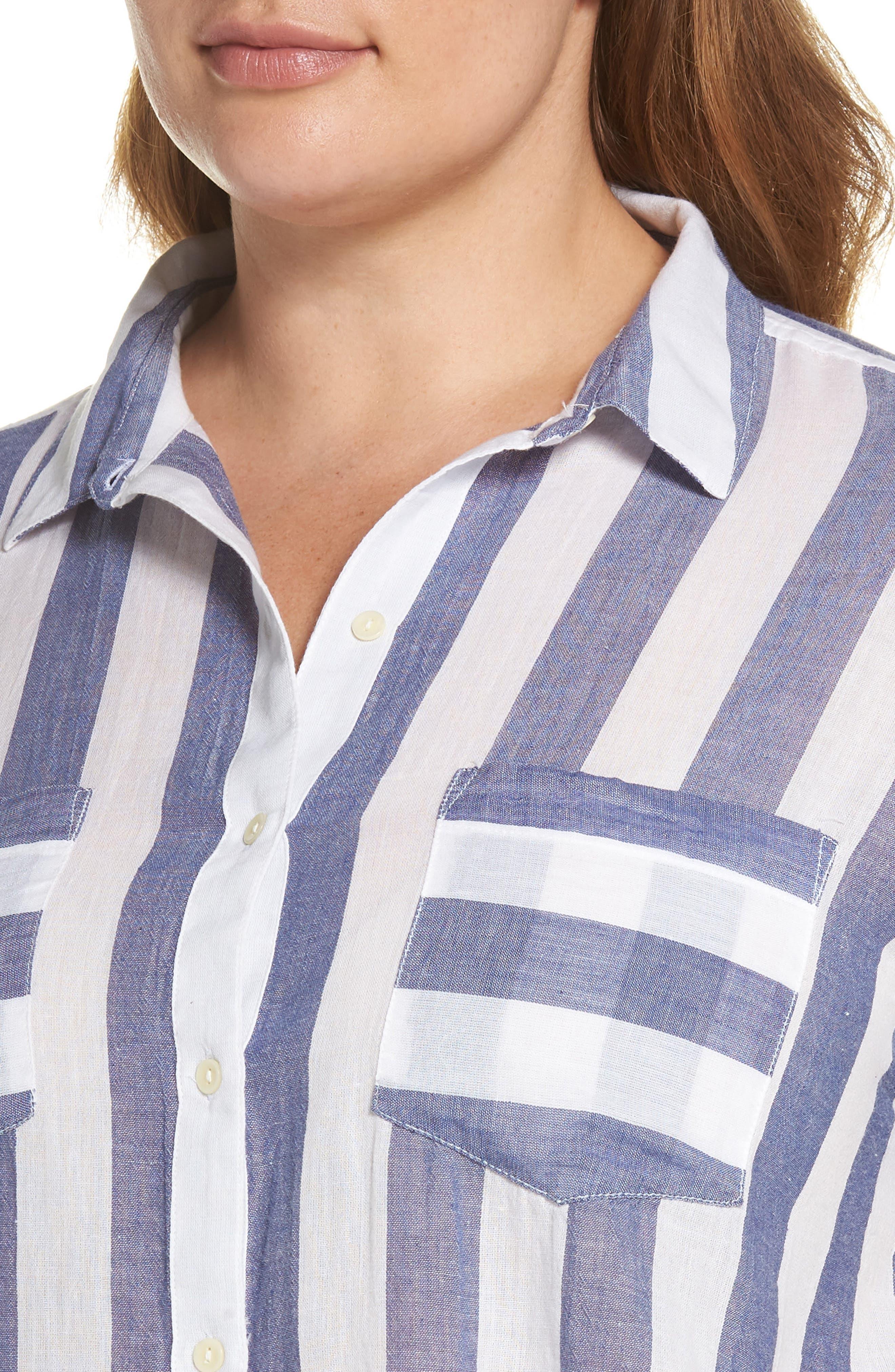 Stripe Back Tie Shirt,                             Alternate thumbnail 4, color,