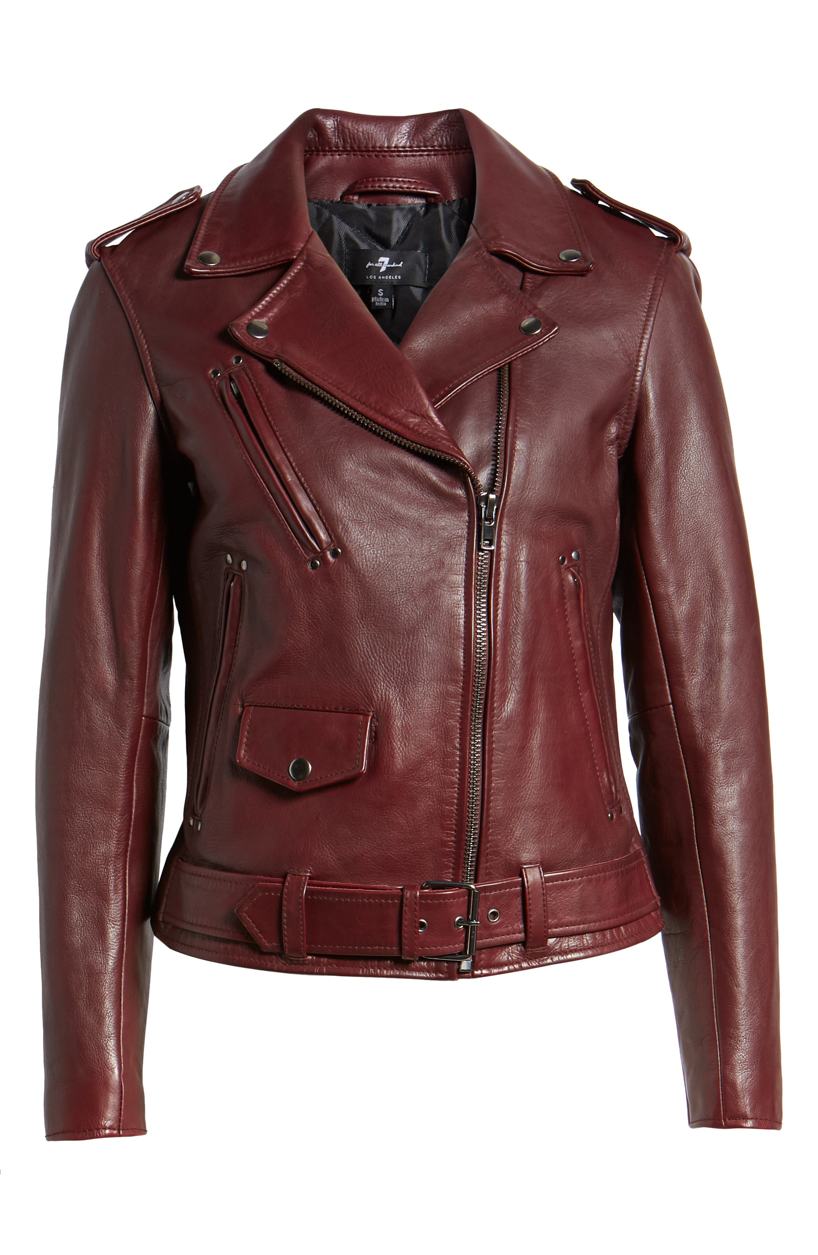 Leather Biker Jacket,                             Alternate thumbnail 5, color,                             BLACKENED BORDEAUX