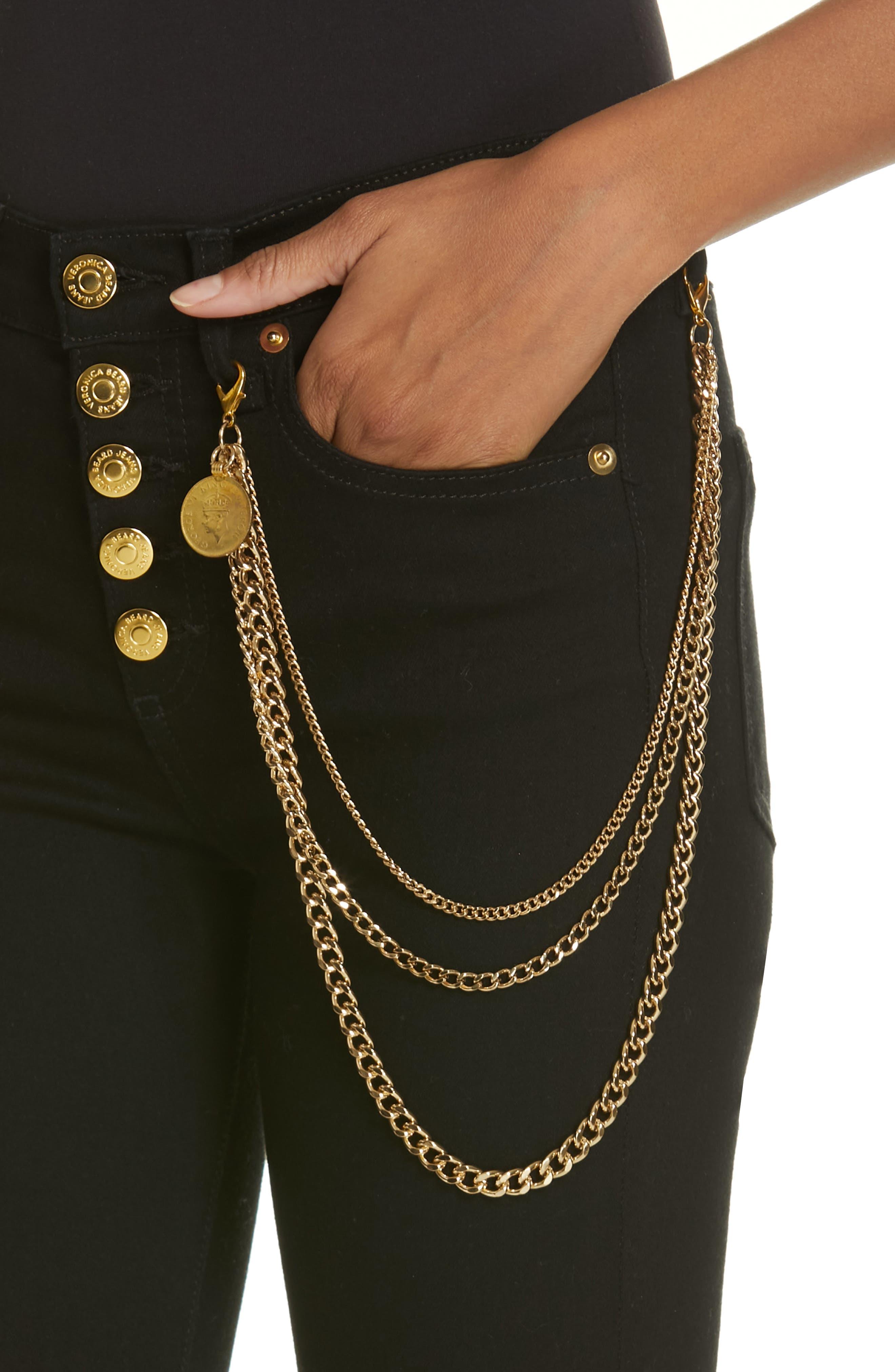 Debbie 10 Chain Belt High Waist Skinny Jeans,                             Alternate thumbnail 4, color,                             RAVEN