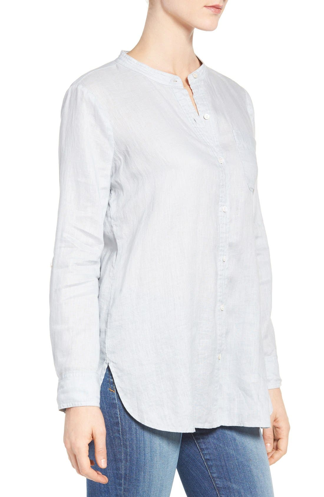 Two by Vince Camuto Collarless Linen Shirt,                             Alternate thumbnail 2, color,                             026