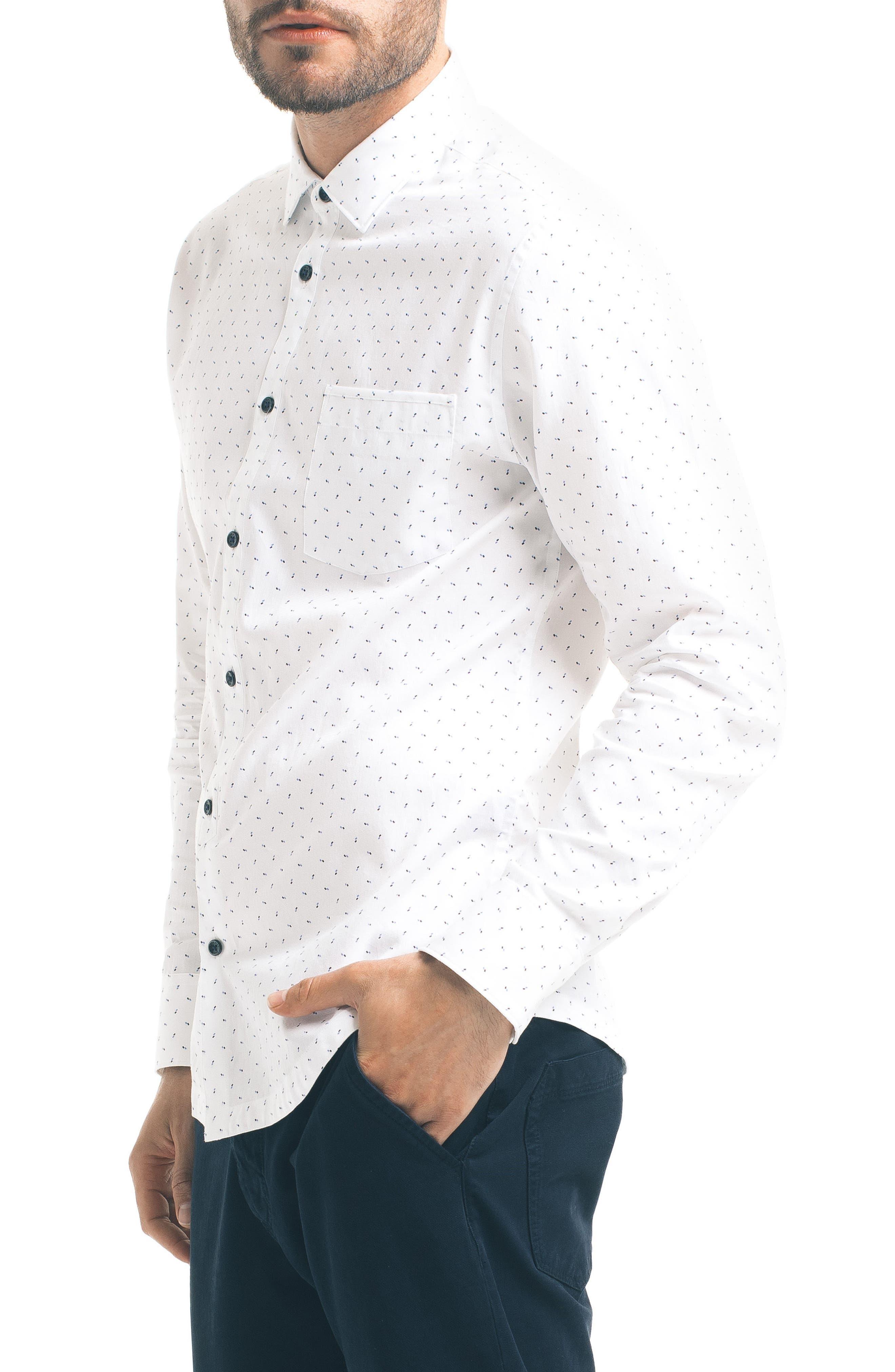 Slim Fit Pattern Sport Shirt,                             Alternate thumbnail 3, color,                             100