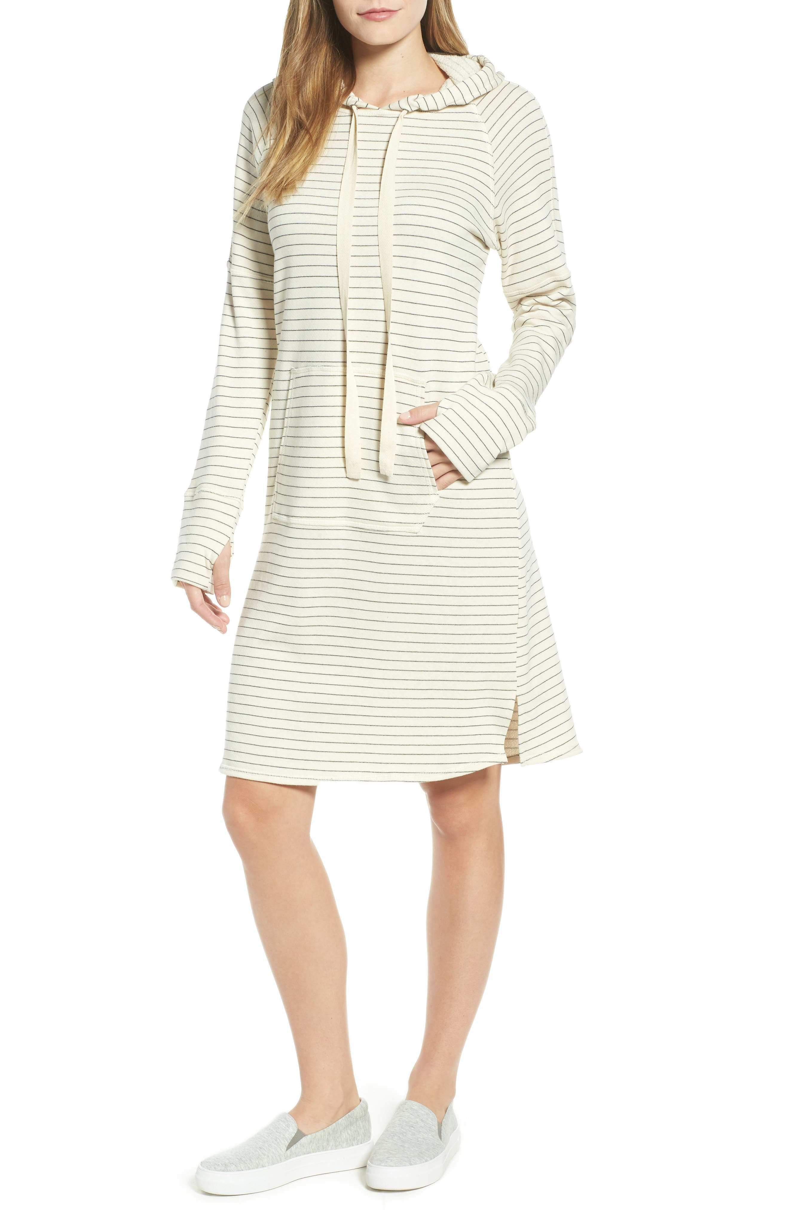Hooded French Terry Dress,                             Main thumbnail 2, color,