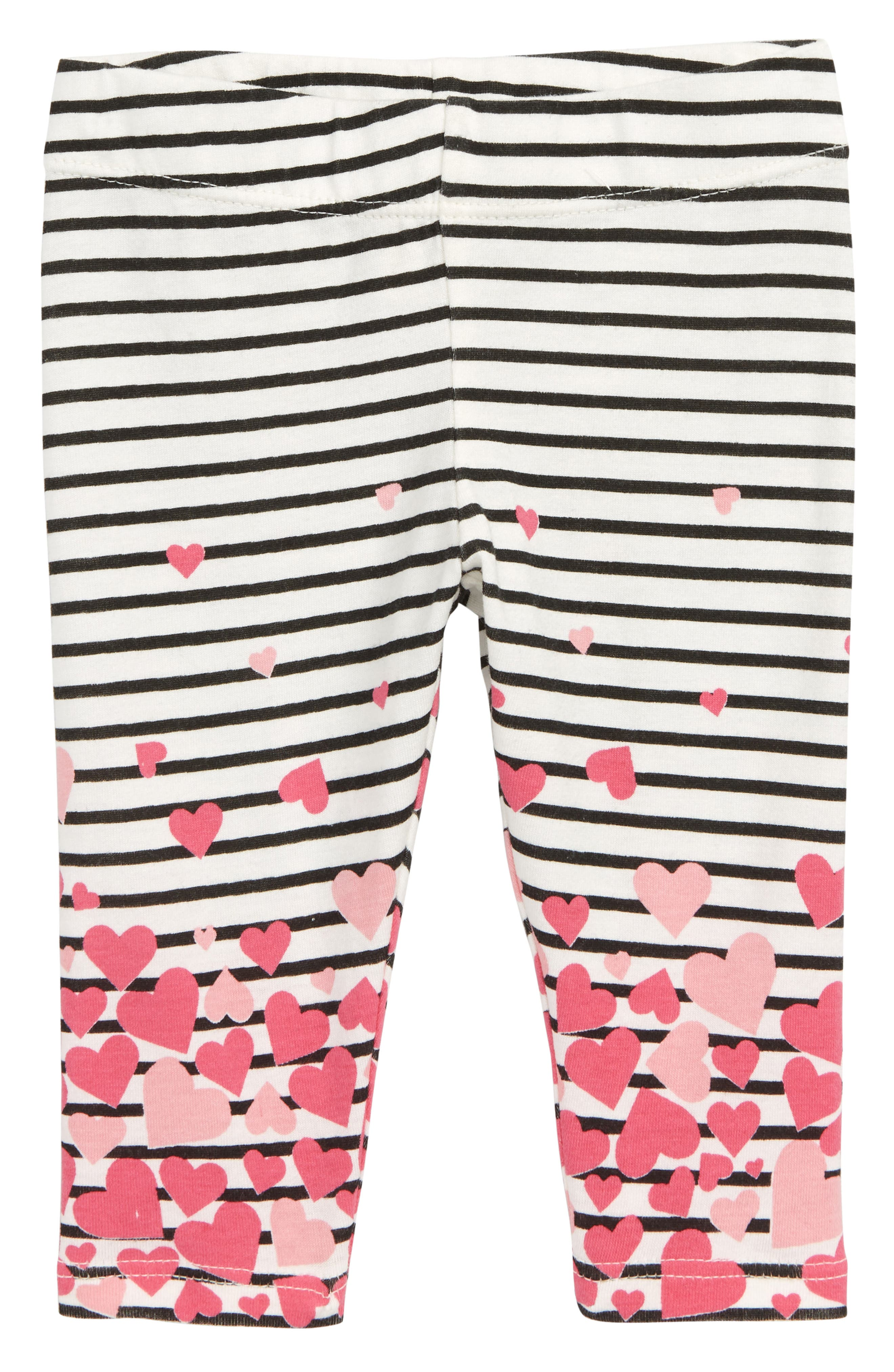 Heart Stripe Leggings,                             Main thumbnail 1, color,                             IVORY EGRET- BLACK STRIPE