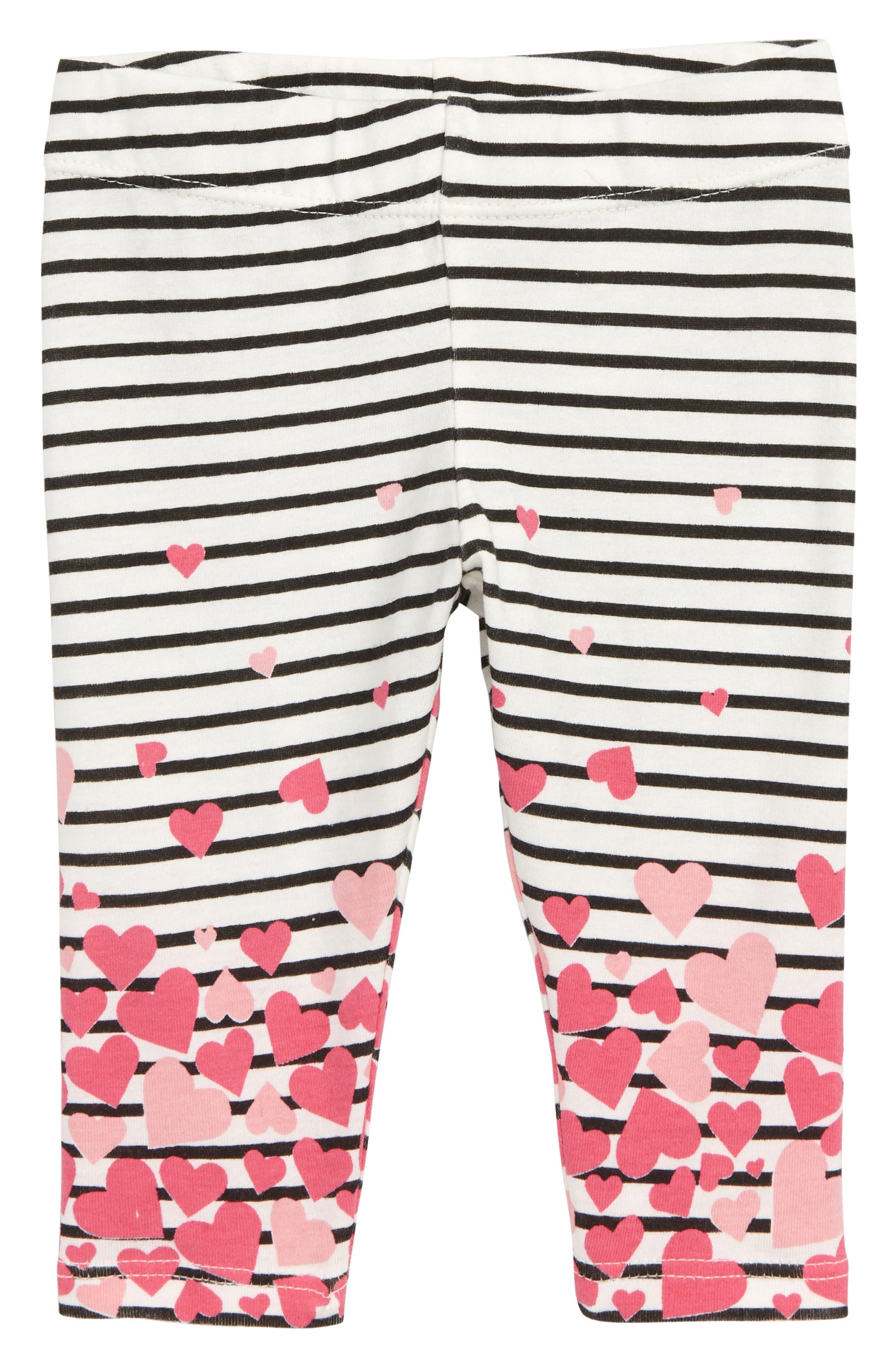 Heart Stripe Leggings, Main, color, IVORY EGRET- BLACK STRIPE