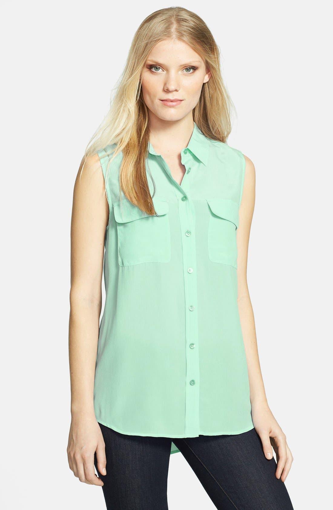 'Slim Signature' Sleeveless Silk Shirt,                             Main thumbnail 17, color,