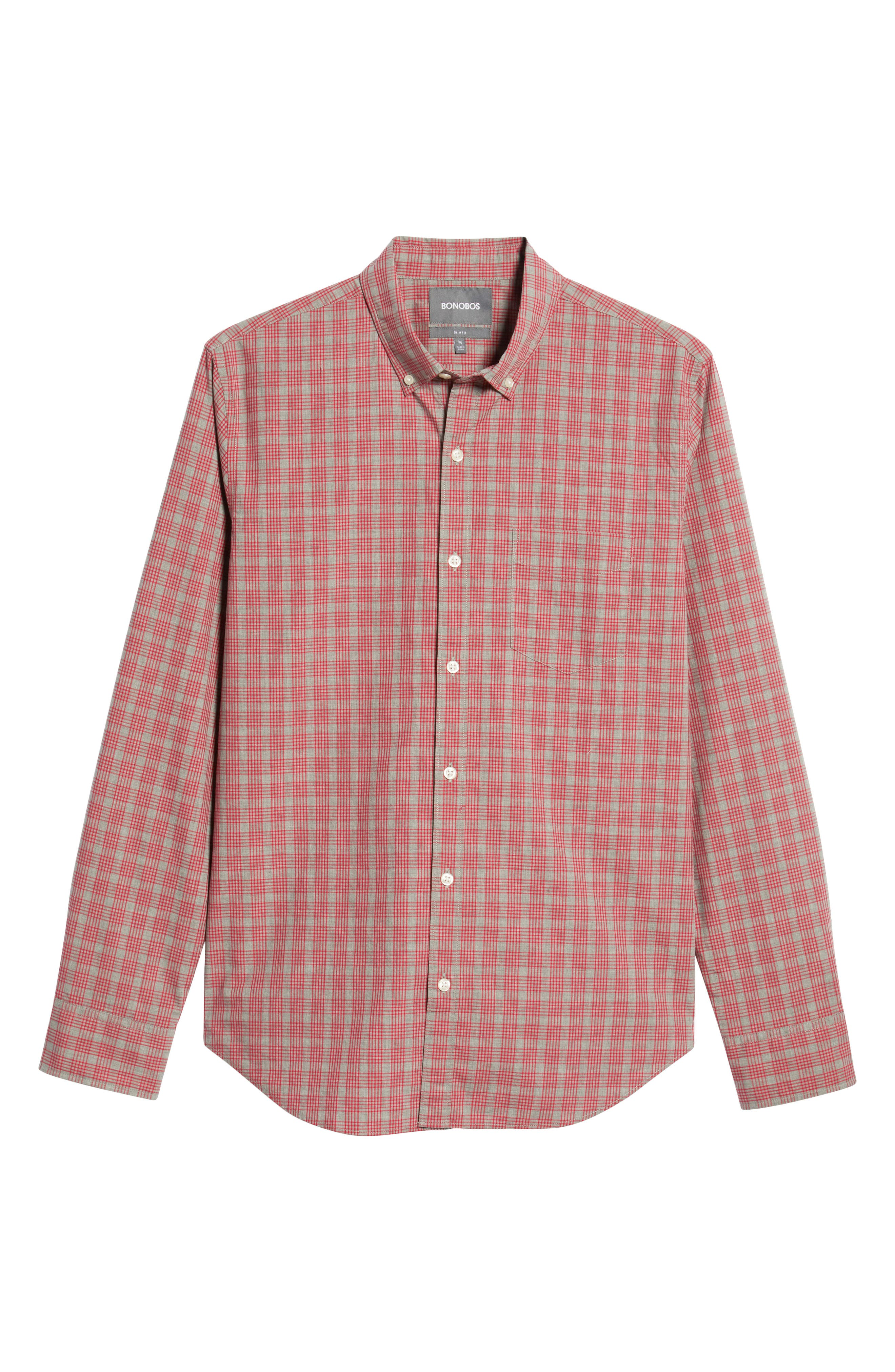 Washed Button Down Slim Fit Check Sport Shirt,                             Alternate thumbnail 5, color,                             MATTHEW CHECK - CERISE