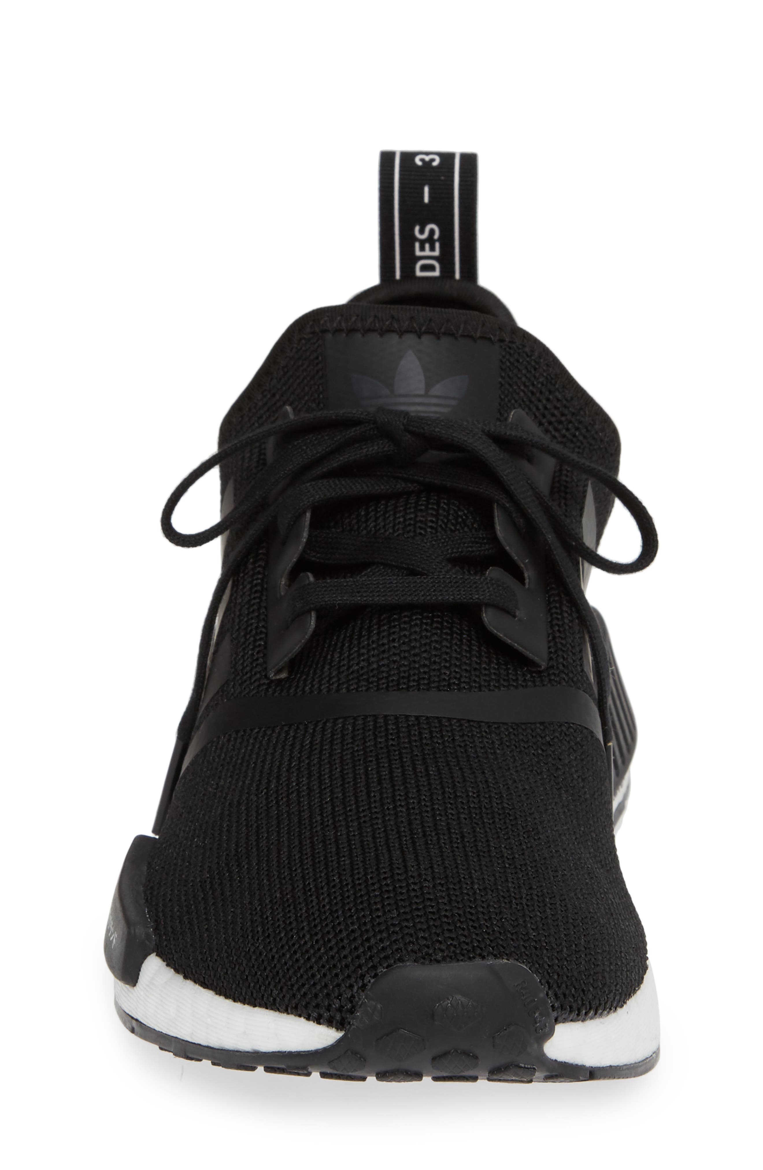 NMD R1 Sneaker,                             Alternate thumbnail 4, color,                             CORE BLACK/ BLACK/ ORCHID TINT