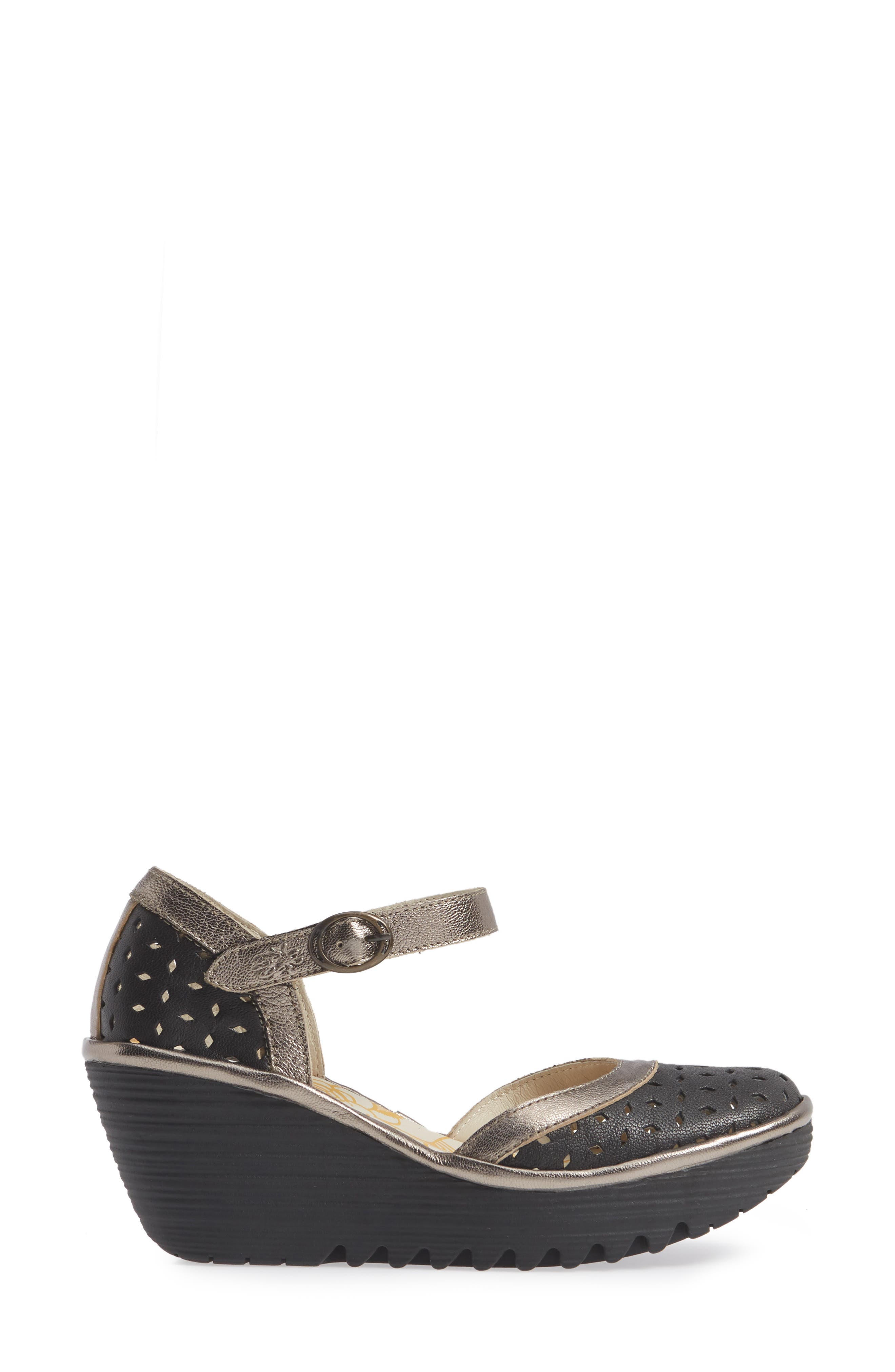 FLY LONDON,                             Yven Wedge,                             Alternate thumbnail 3, color,                             BLACK/ BRONZE LEATHER