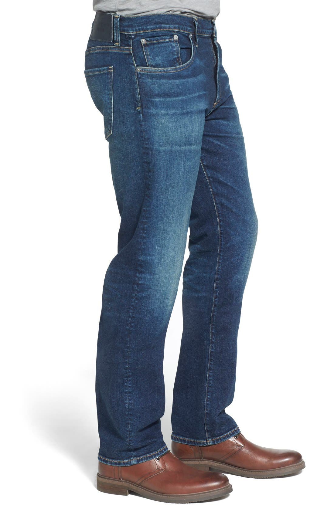 'Core' Slim Straight Leg Jeans,                             Alternate thumbnail 4, color,                             BRIGADE