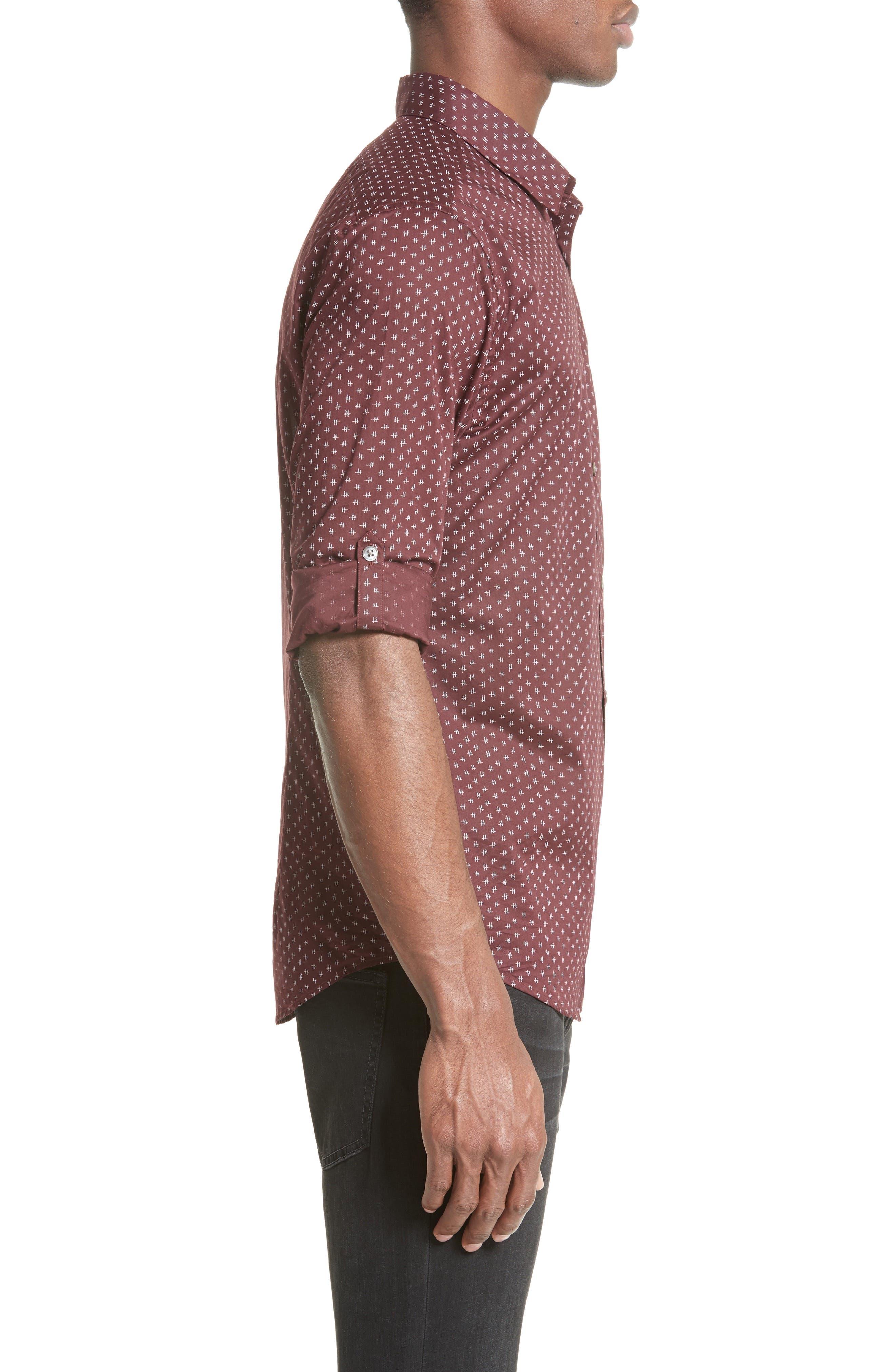 Slim Fit Print Sport Shirt,                             Alternate thumbnail 4, color,                             618