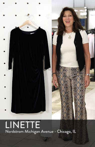 Stretch Velvet Sheath Dress, sales video thumbnail