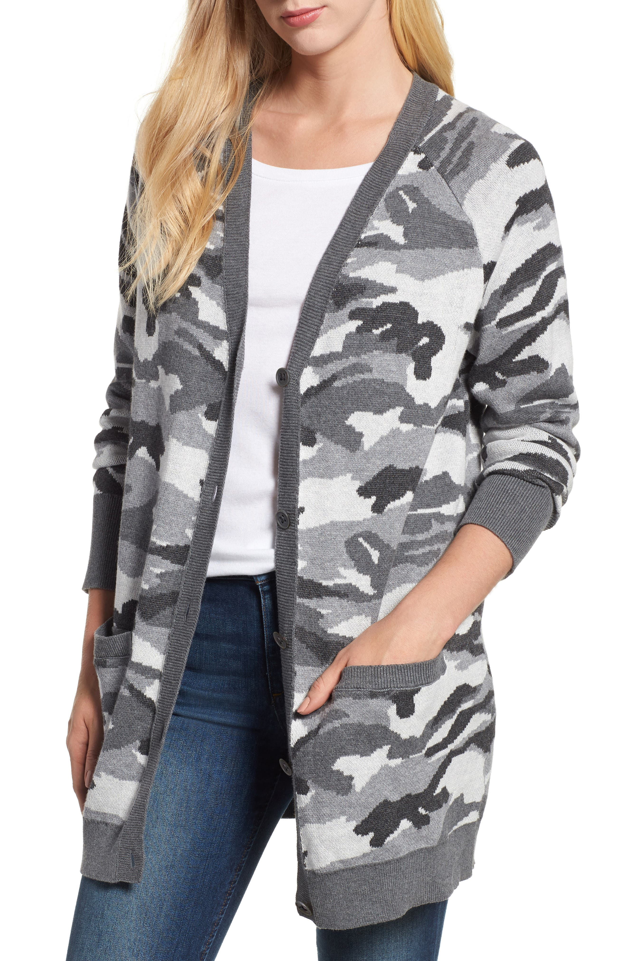 Button Front Camo Cardigan,                         Main,                         color, 026