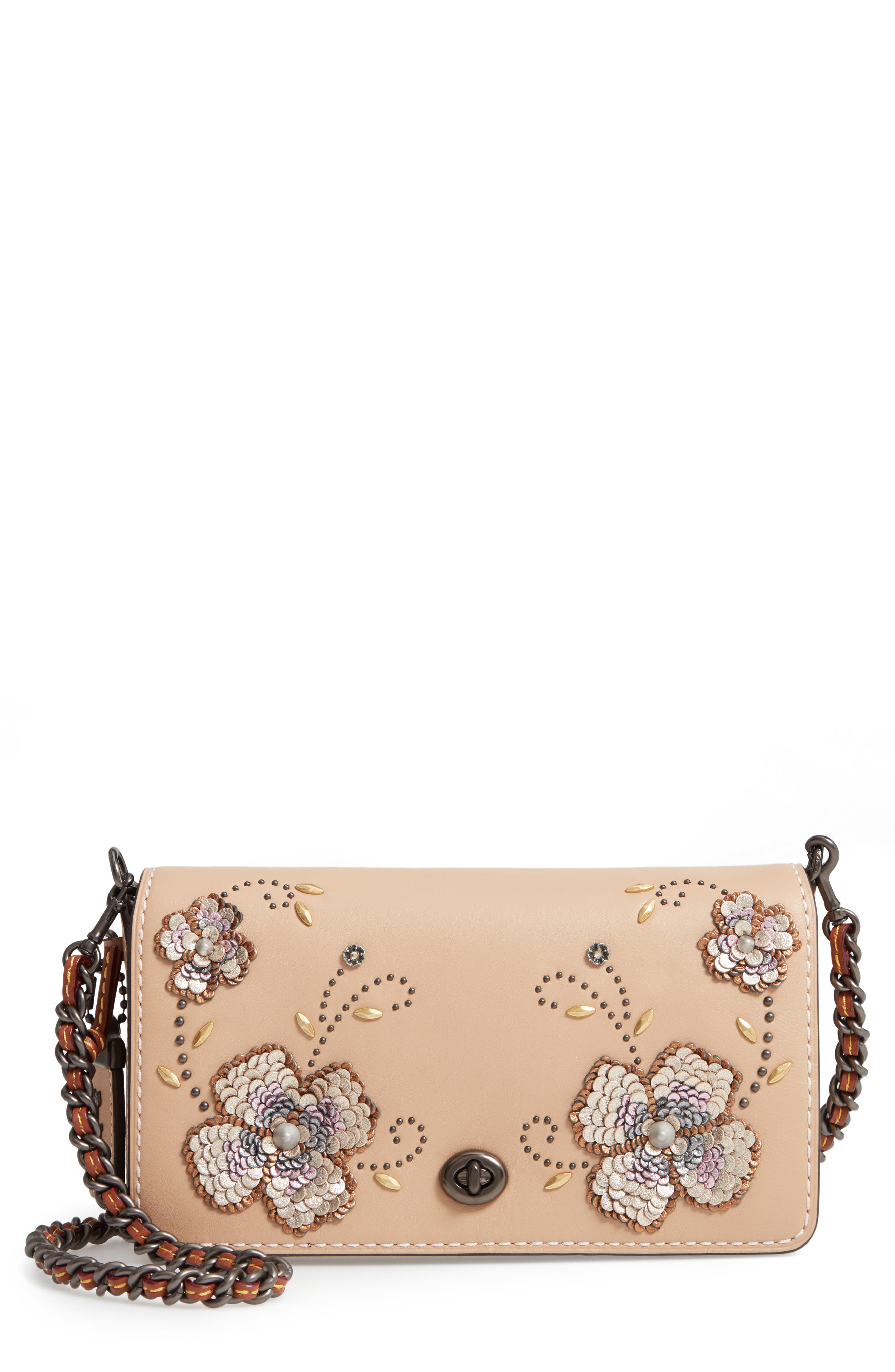 Dinky Leather Crossbody Sequin Bag,                         Main,                         color, BEECHWOOD