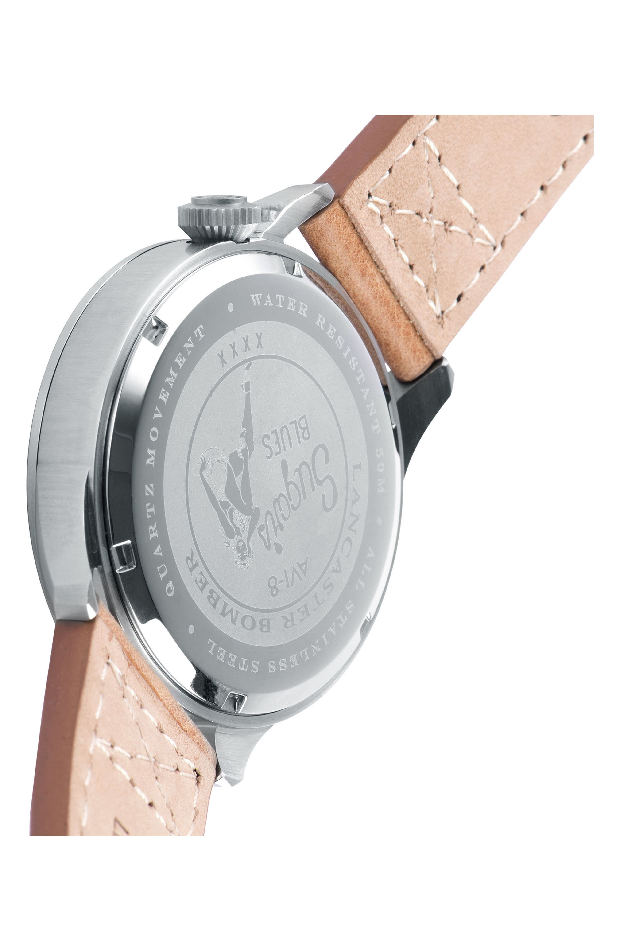Lancaster Bomber Multifunction Leather Strap Watch, 44mm,                             Alternate thumbnail 2, color,