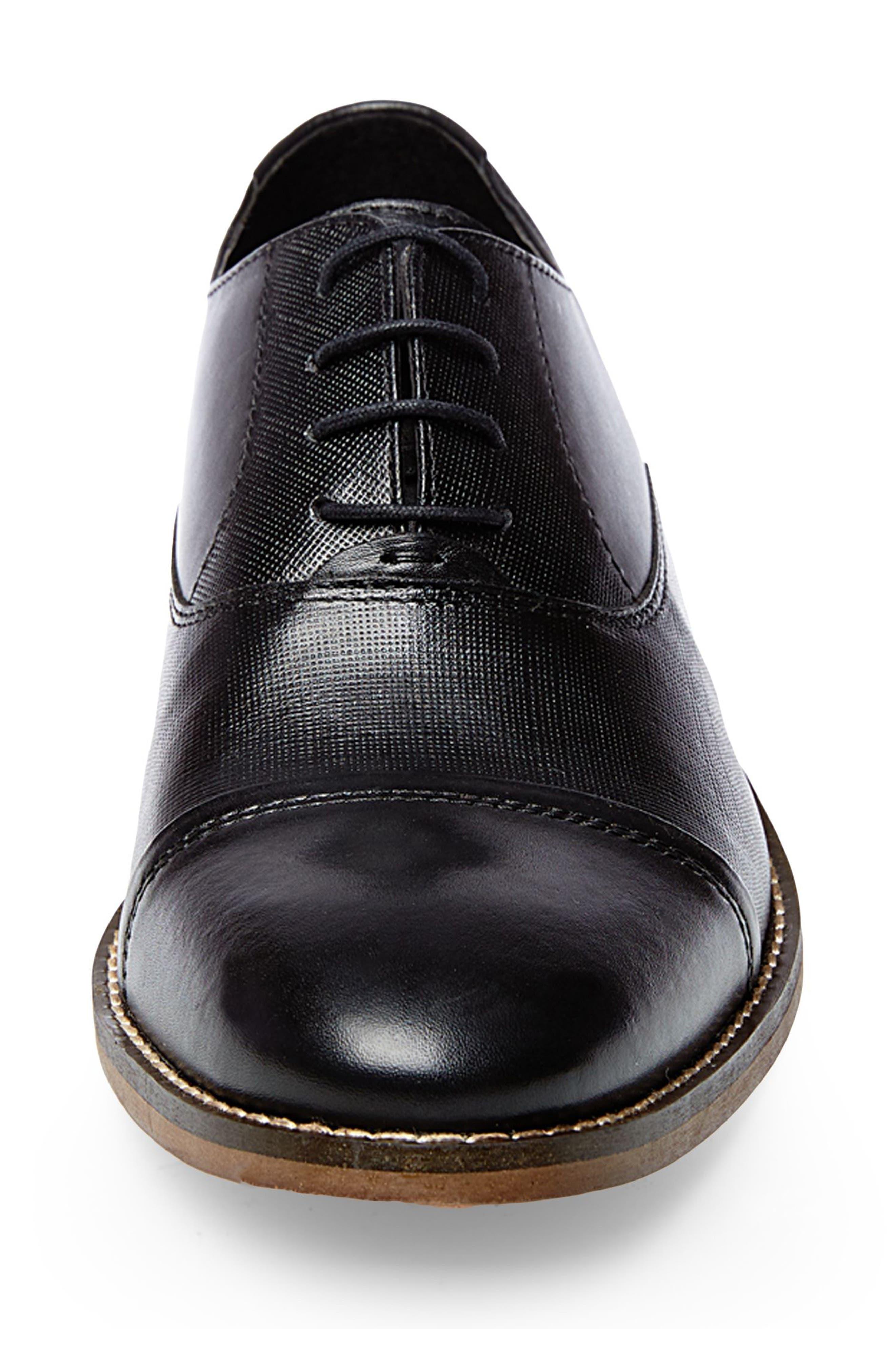 Finnich Textured Cap Toe Oxford,                             Alternate thumbnail 4, color,                             BLACK