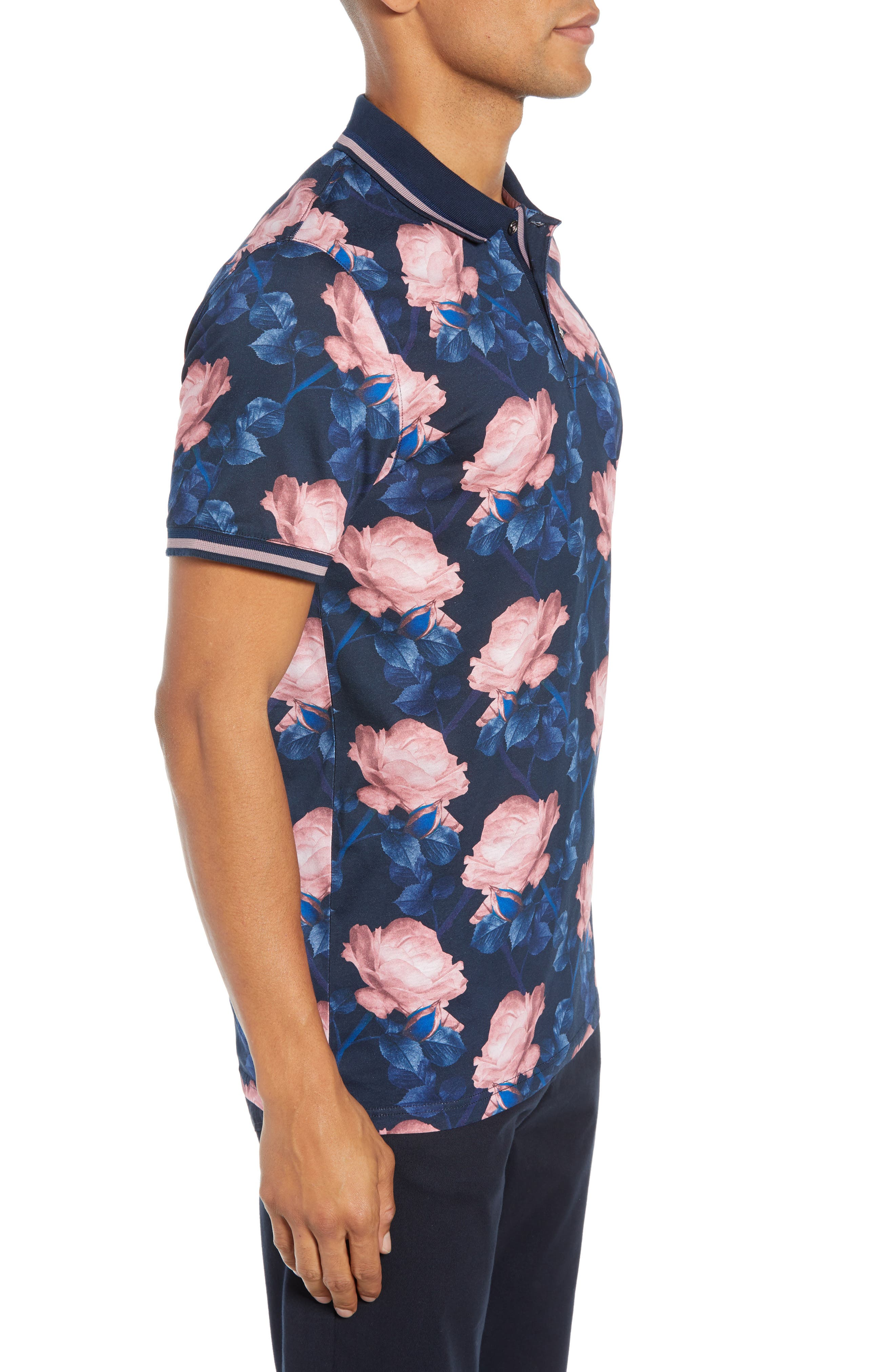 Slim Fit Lively Floral Print Polo,                             Alternate thumbnail 3, color,                             NAVY