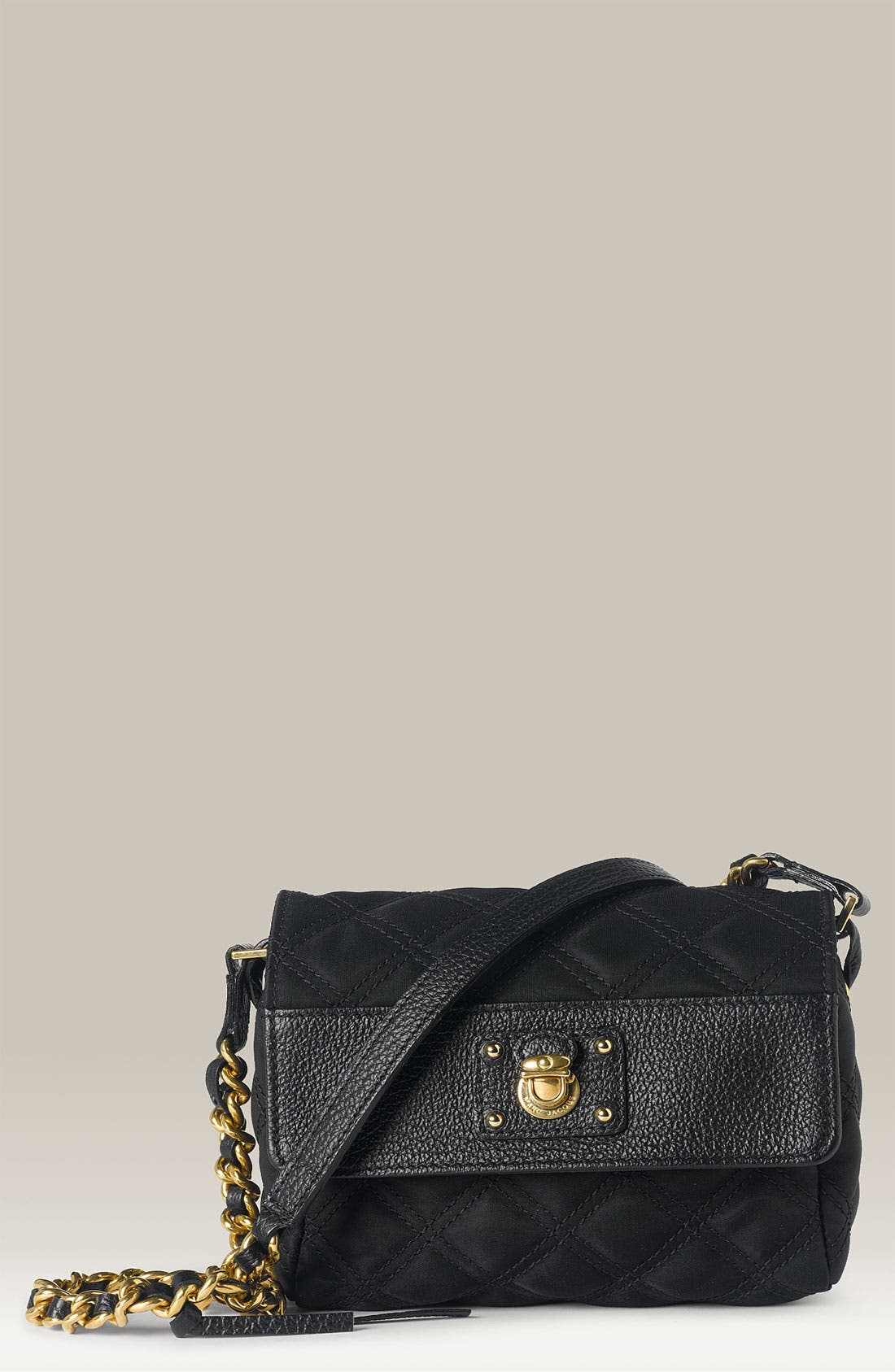 'Debbie' Quilted Nylon Crossbody Bag,                             Main thumbnail 1, color,                             001