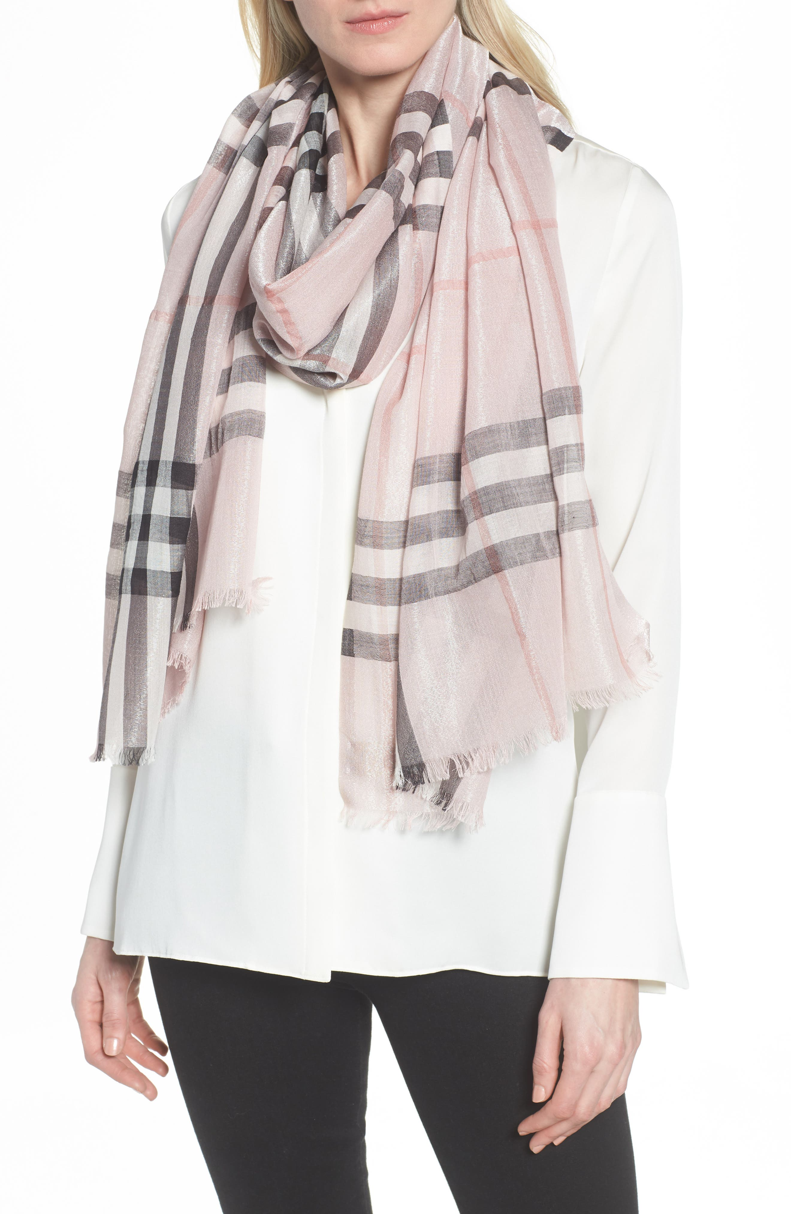 Metallic Giant Check Scarf,                             Alternate thumbnail 2, color,                             ASH ROSE/ SILVER