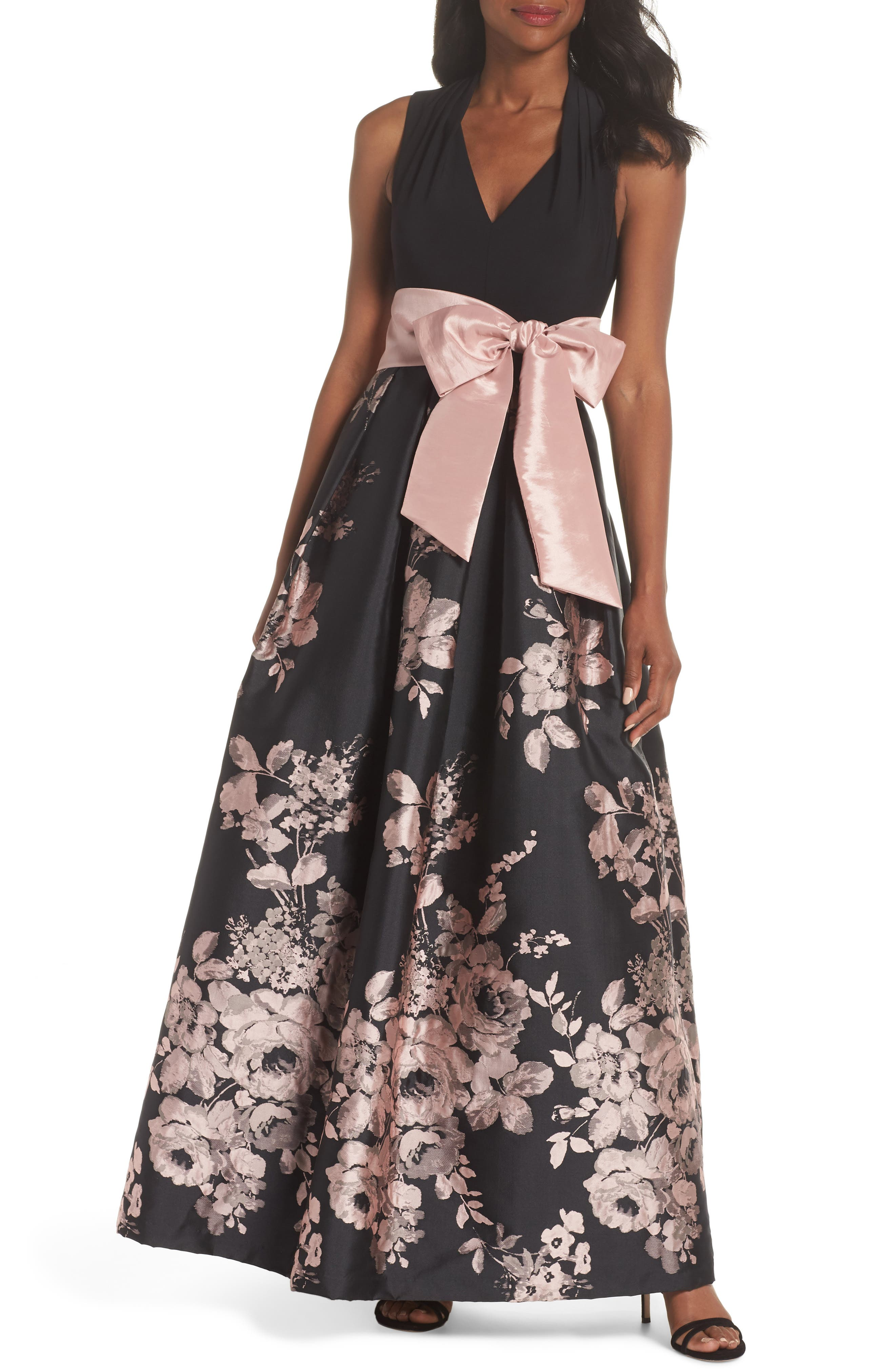 ELIZA J Floral Belted Ball Gown in Black Blush