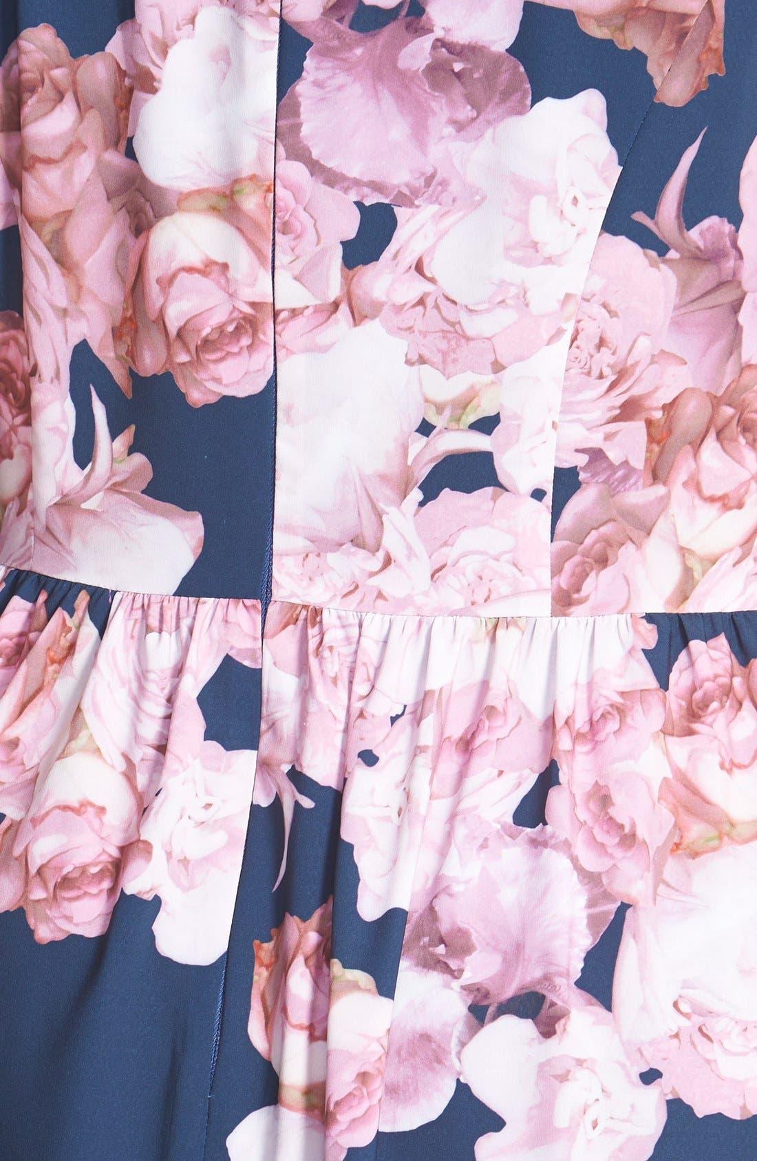Floral Print Chiffon Fit & Flare Dress,                             Alternate thumbnail 3, color,                             463