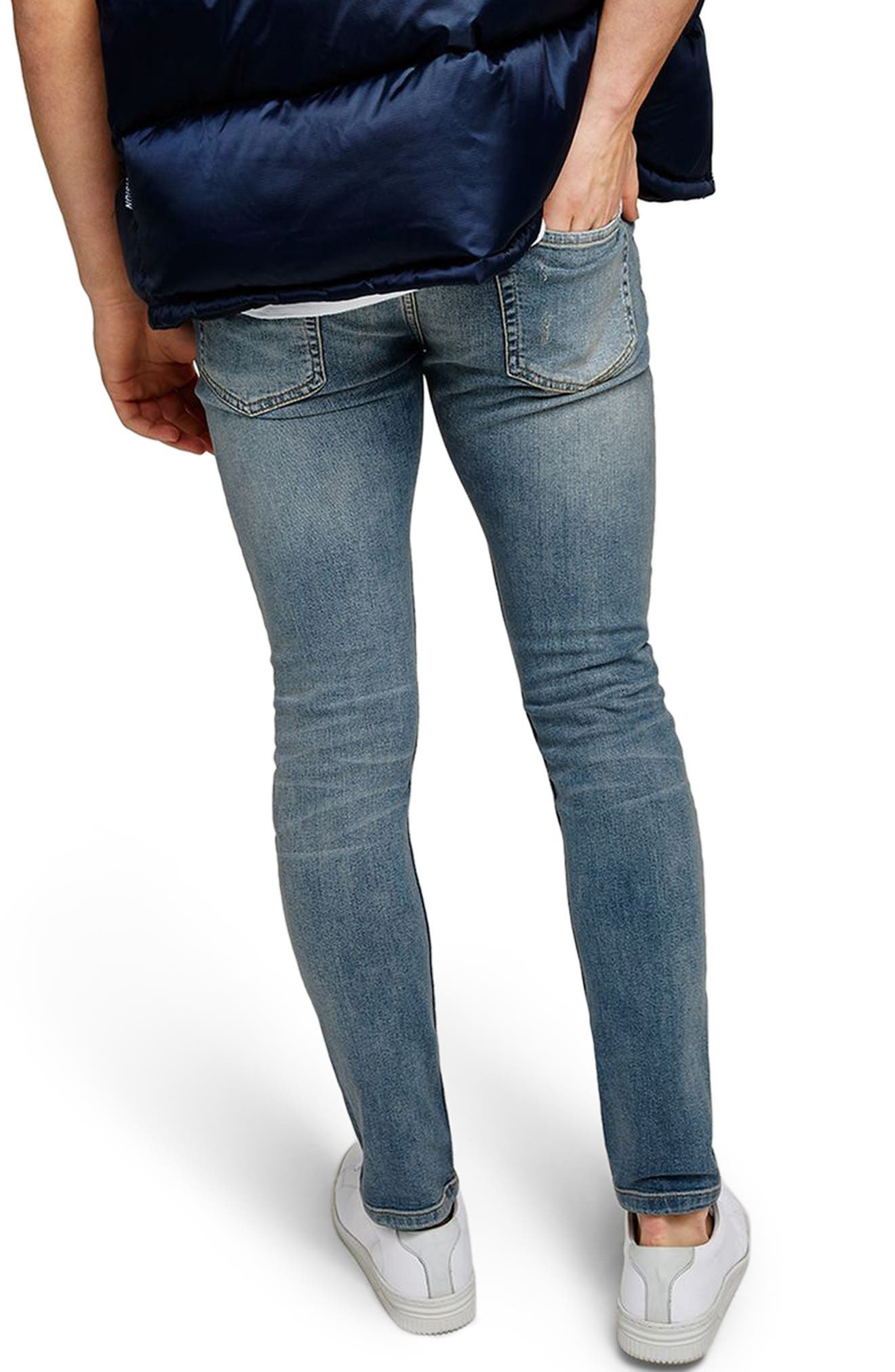 Ripped Stretch Skinny Fit Jeans,                             Alternate thumbnail 2, color,                             BLUE