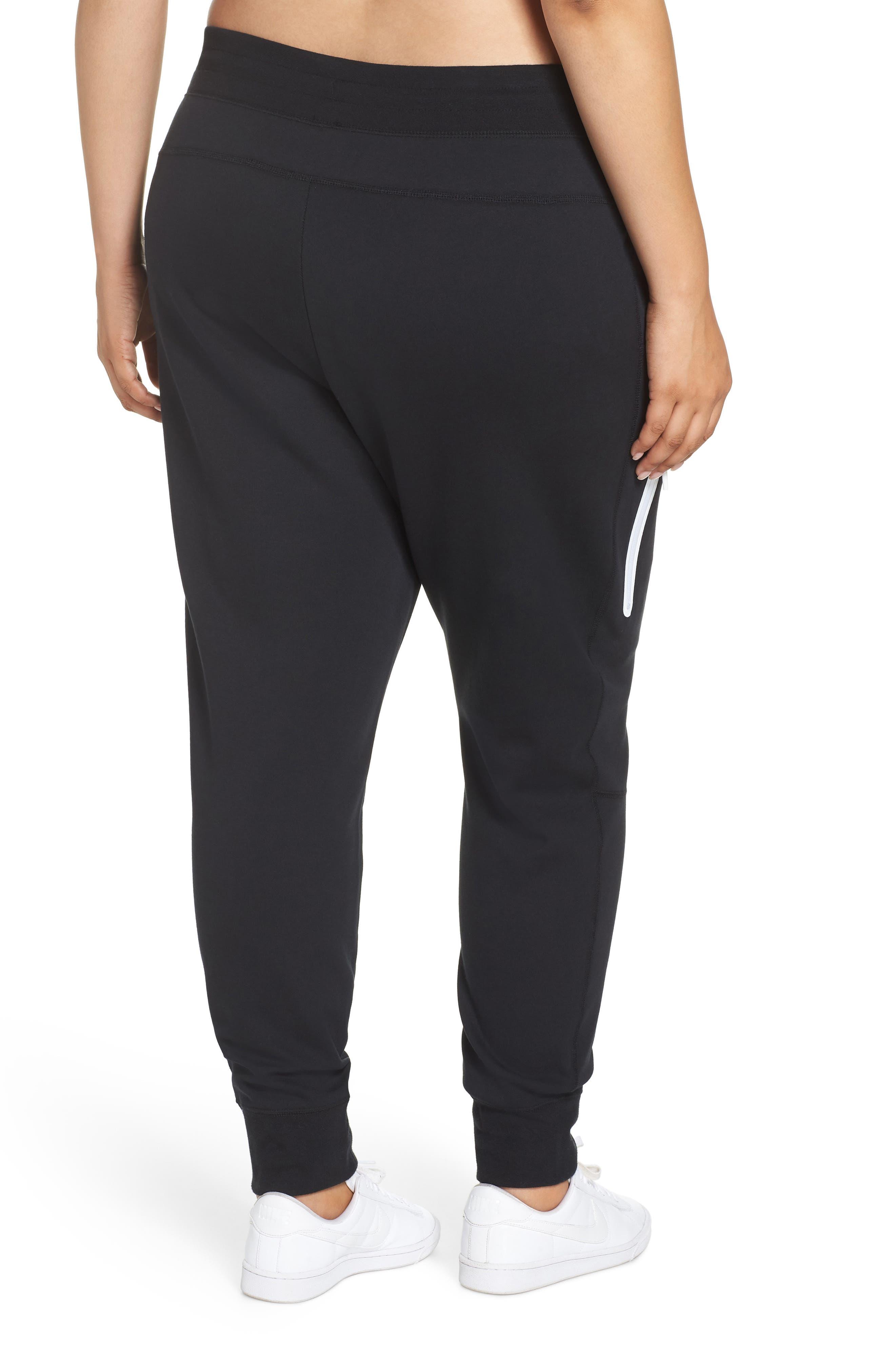 Sportswear High Rise Tech Fleece Jogger Pants,                             Alternate thumbnail 2, color,                             BLACK/ BLACK/ WHITE