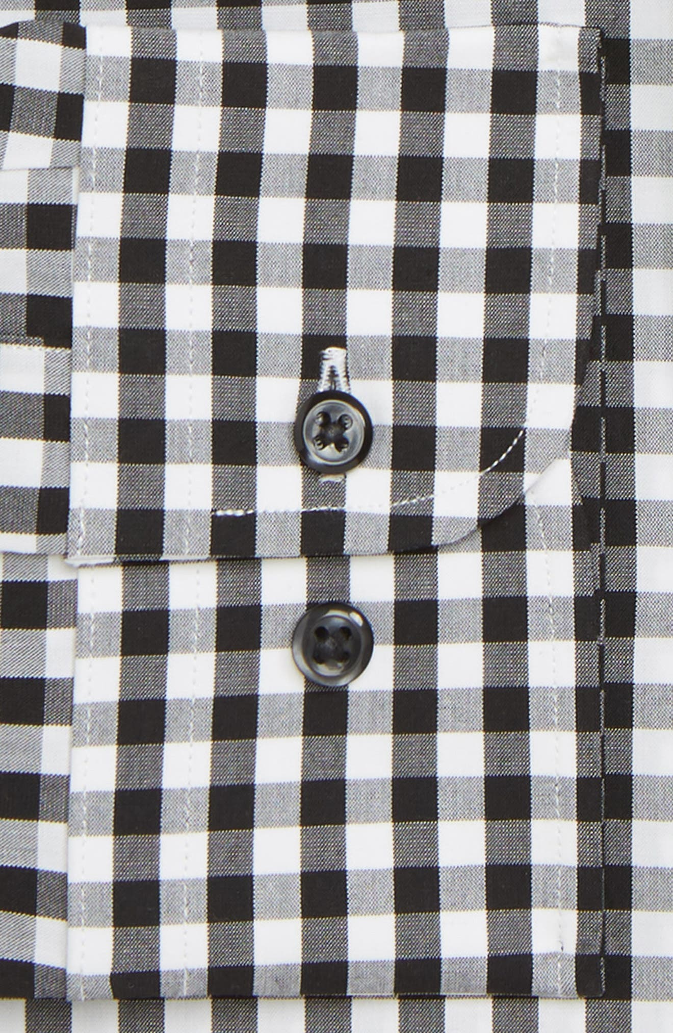 Tech-Smart Extra Trim Fit Stretch Check Dress Shirt,                             Alternate thumbnail 2, color,                             BLACK ROCK
