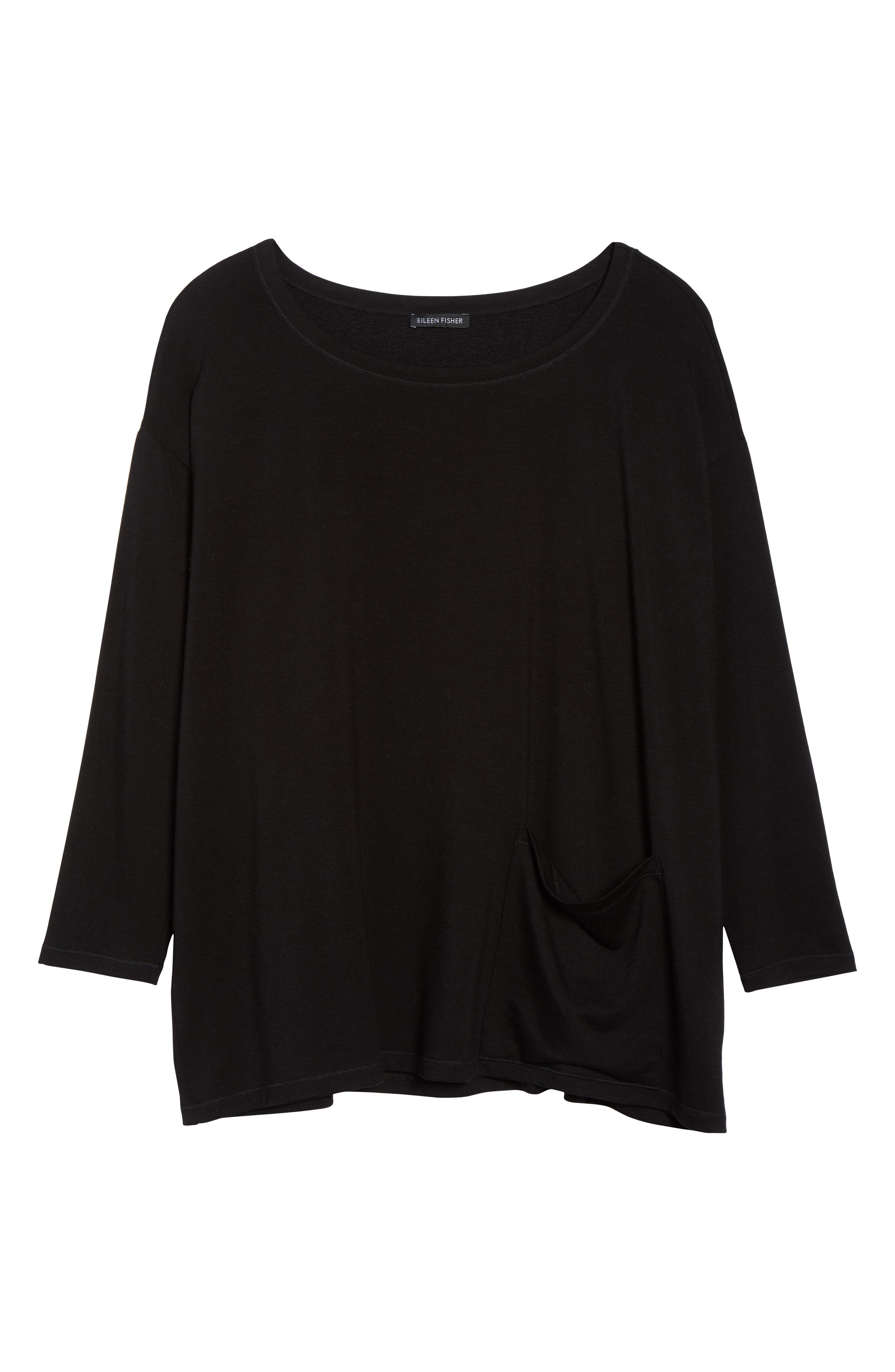 Stretch Terry Top,                             Alternate thumbnail 11, color,                             BLACK