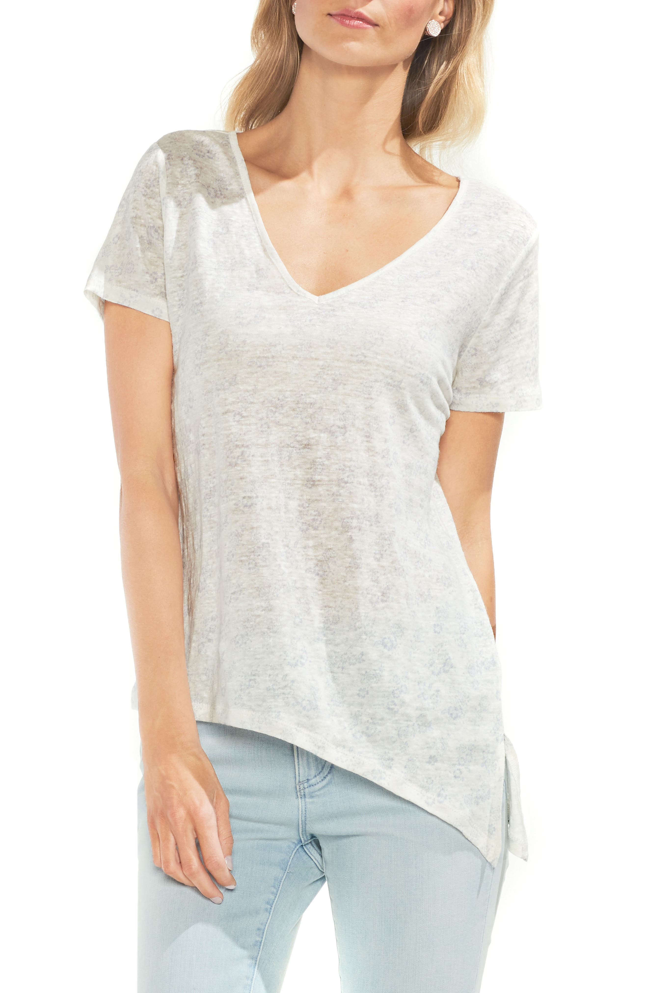 Diagonal Hem Linen Tee,                         Main,                         color, 103