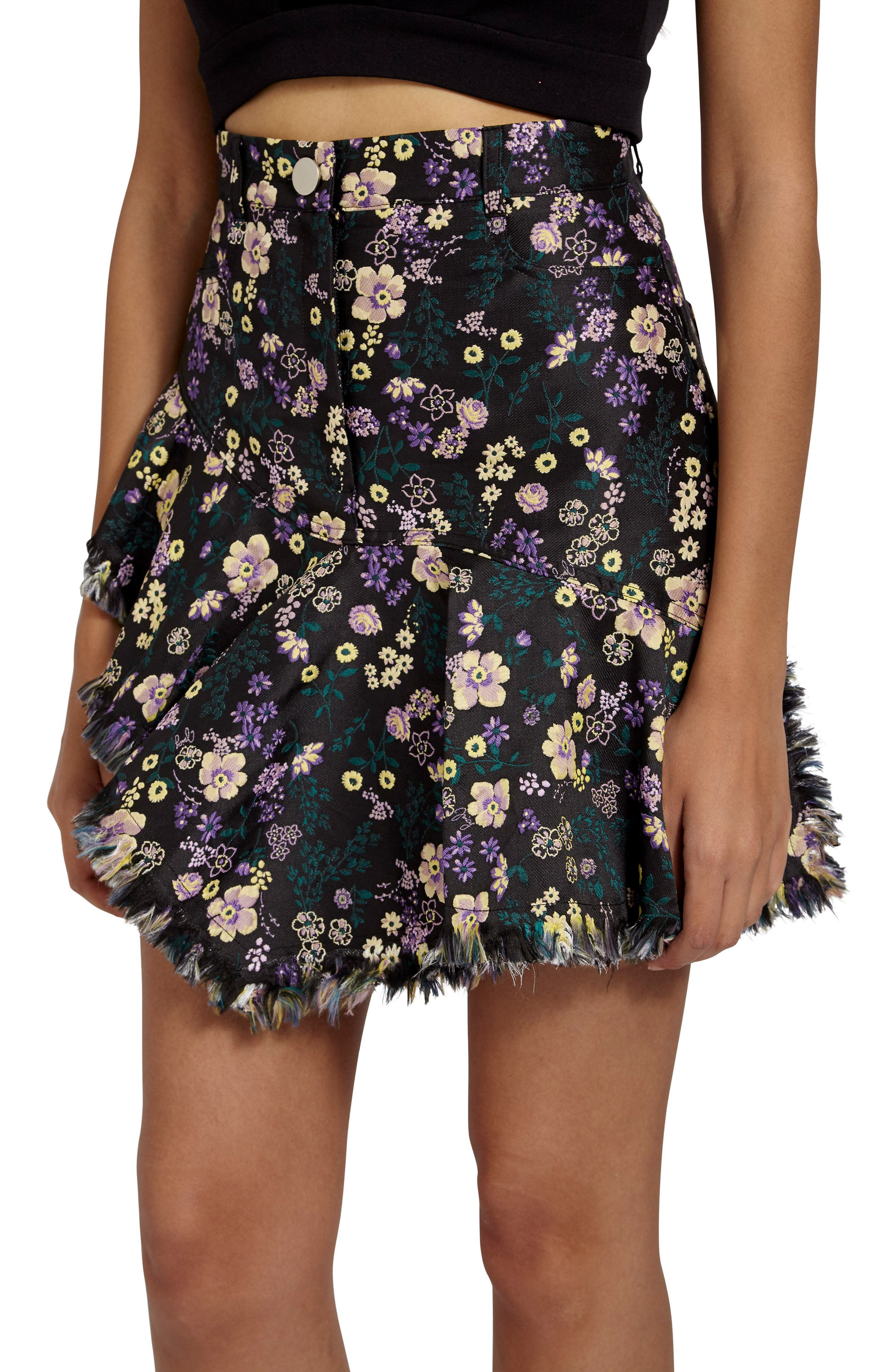 Jacquard Floral Miniskirt,                             Alternate thumbnail 4, color,