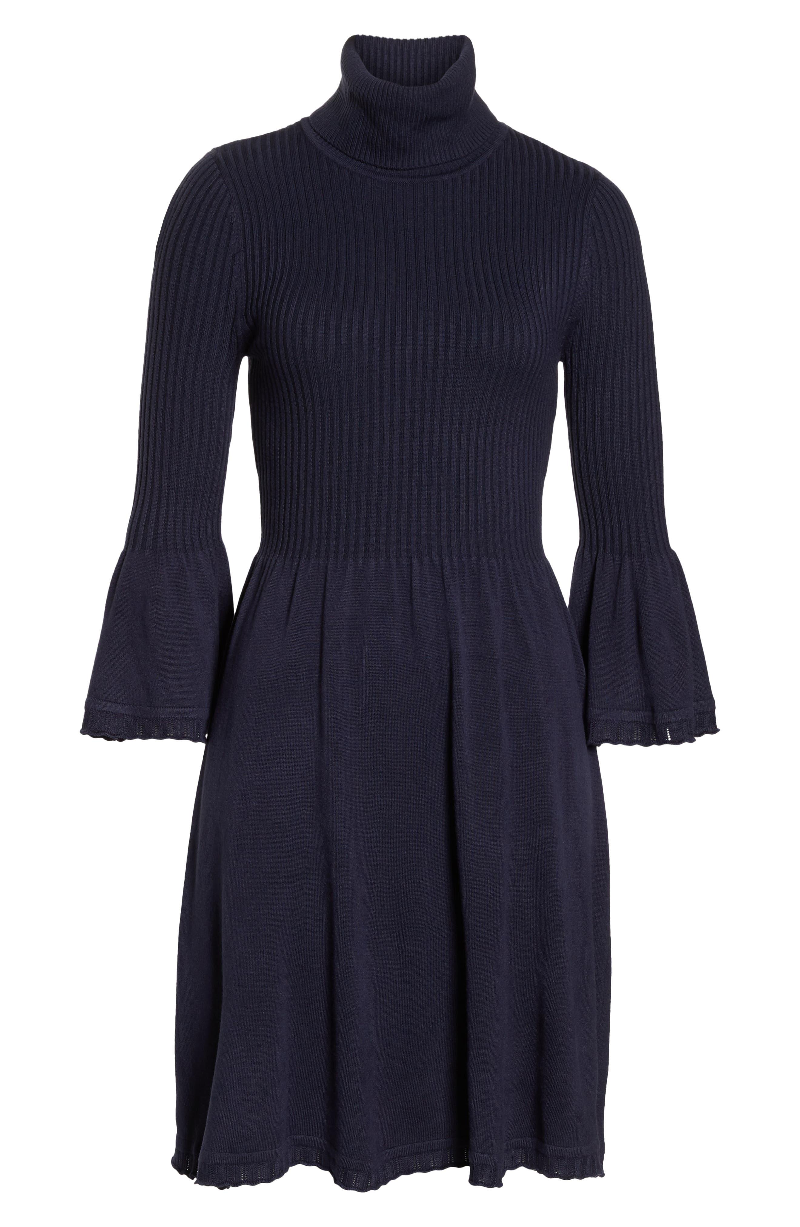 Turtleneck Sweater Dress,                             Alternate thumbnail 7, color,                             NAVY