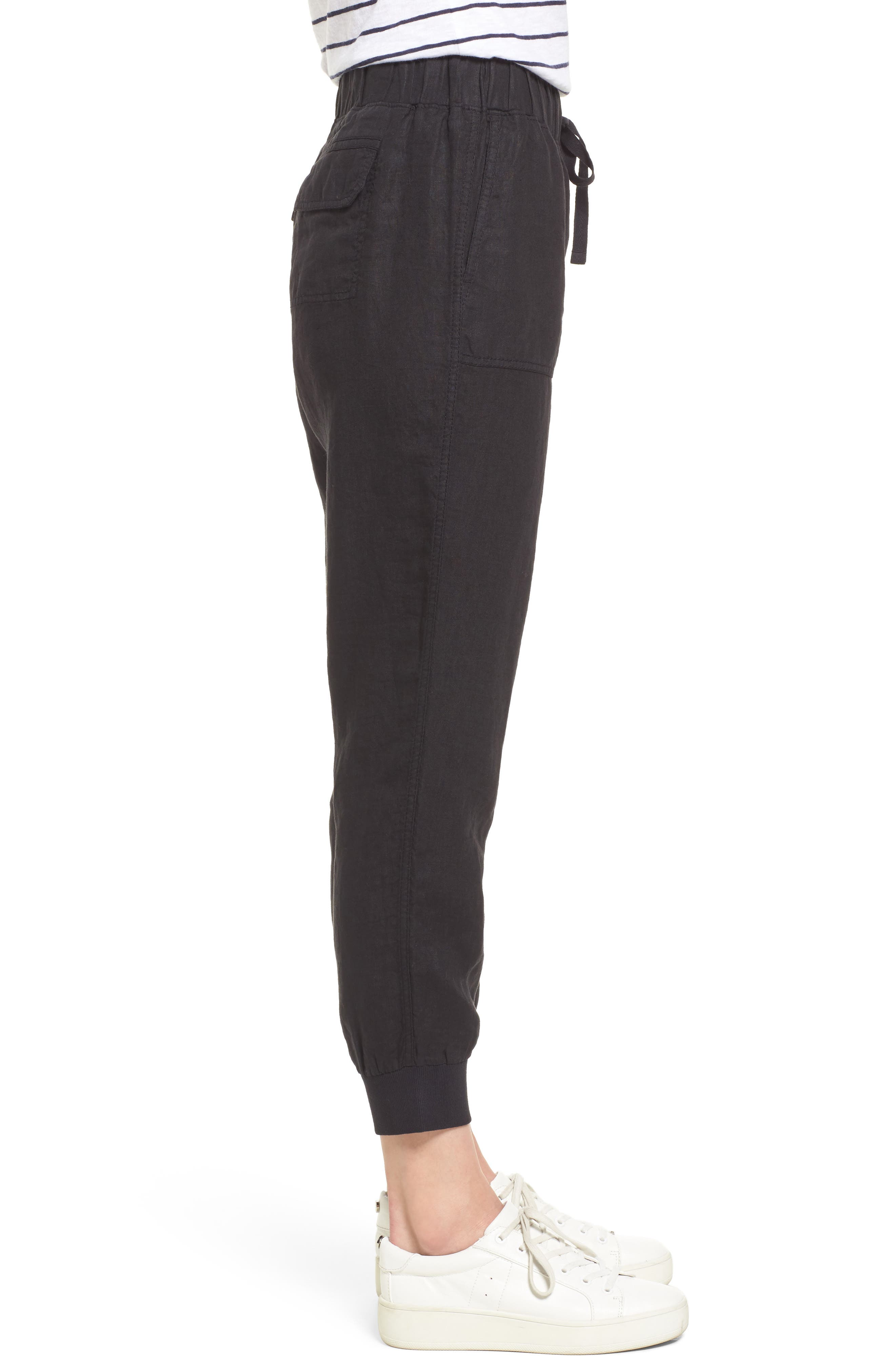 Linen Jogger Pants,                             Alternate thumbnail 3, color,                             BLACK