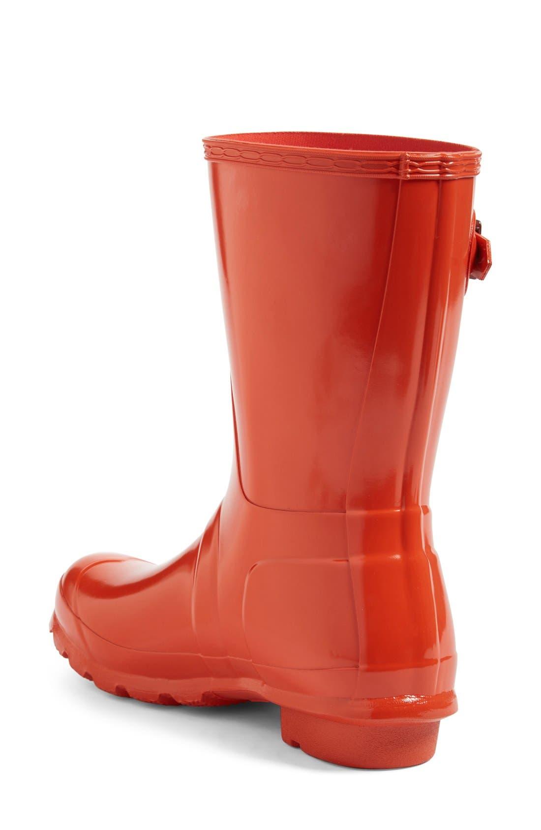 'Original Short' Gloss Rain Boot,                             Alternate thumbnail 3, color,                             ORANGE