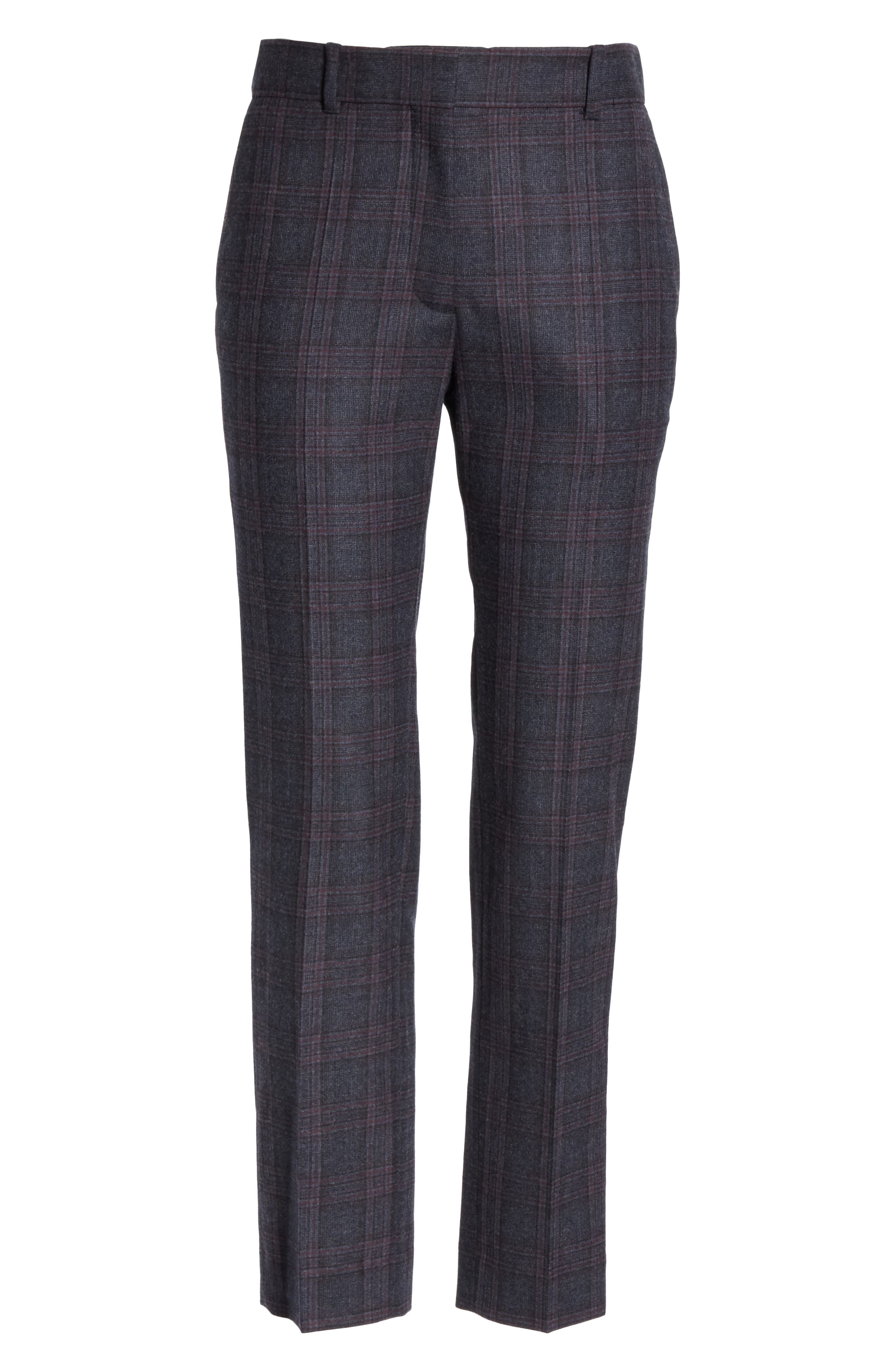 Plaid Stretch Wool Blend Pants,                             Alternate thumbnail 6, color,                             BLUE