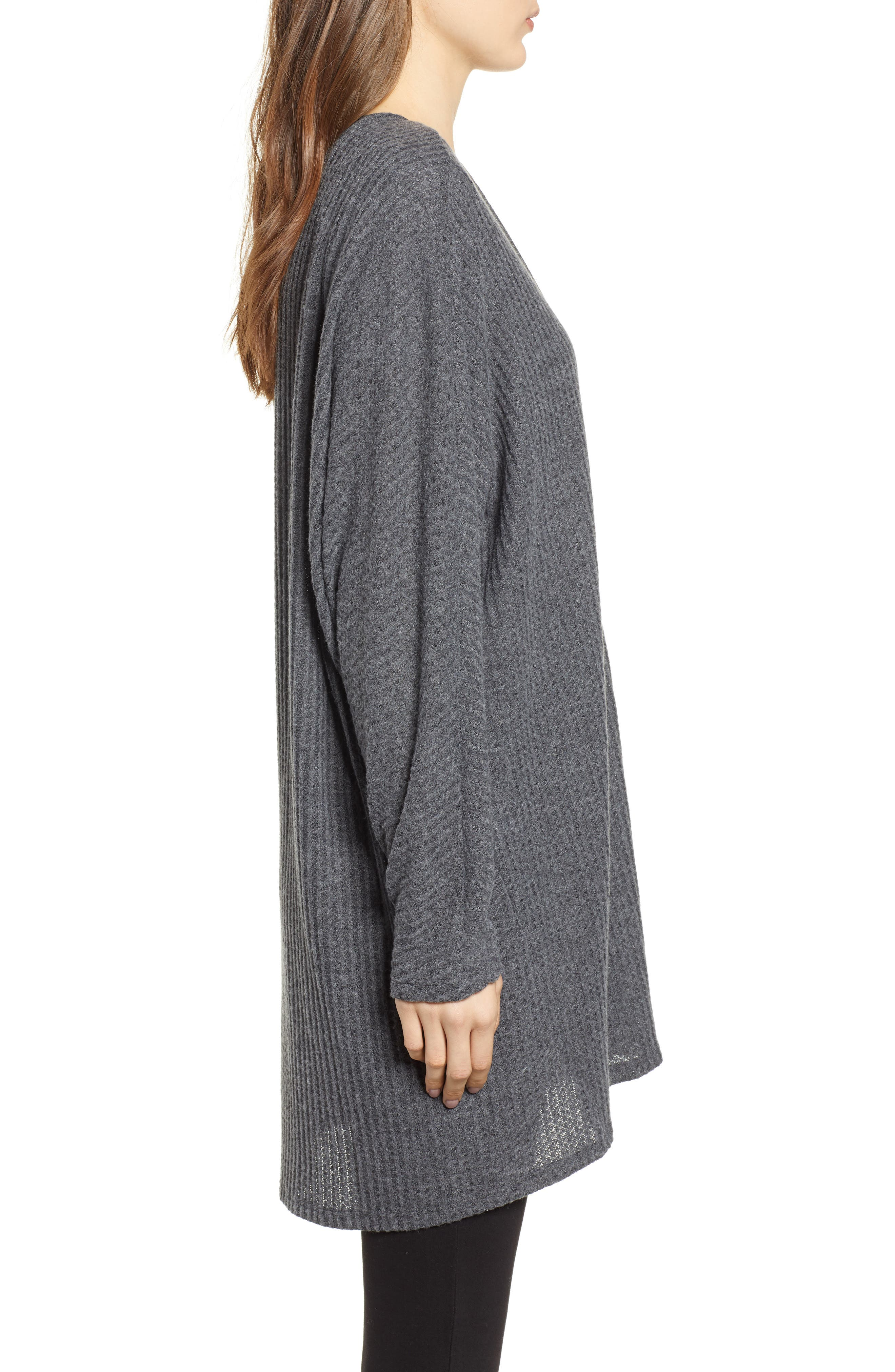 Keep It Casual Thermal Cardigan,                             Alternate thumbnail 3, color,                             CHARCOAL