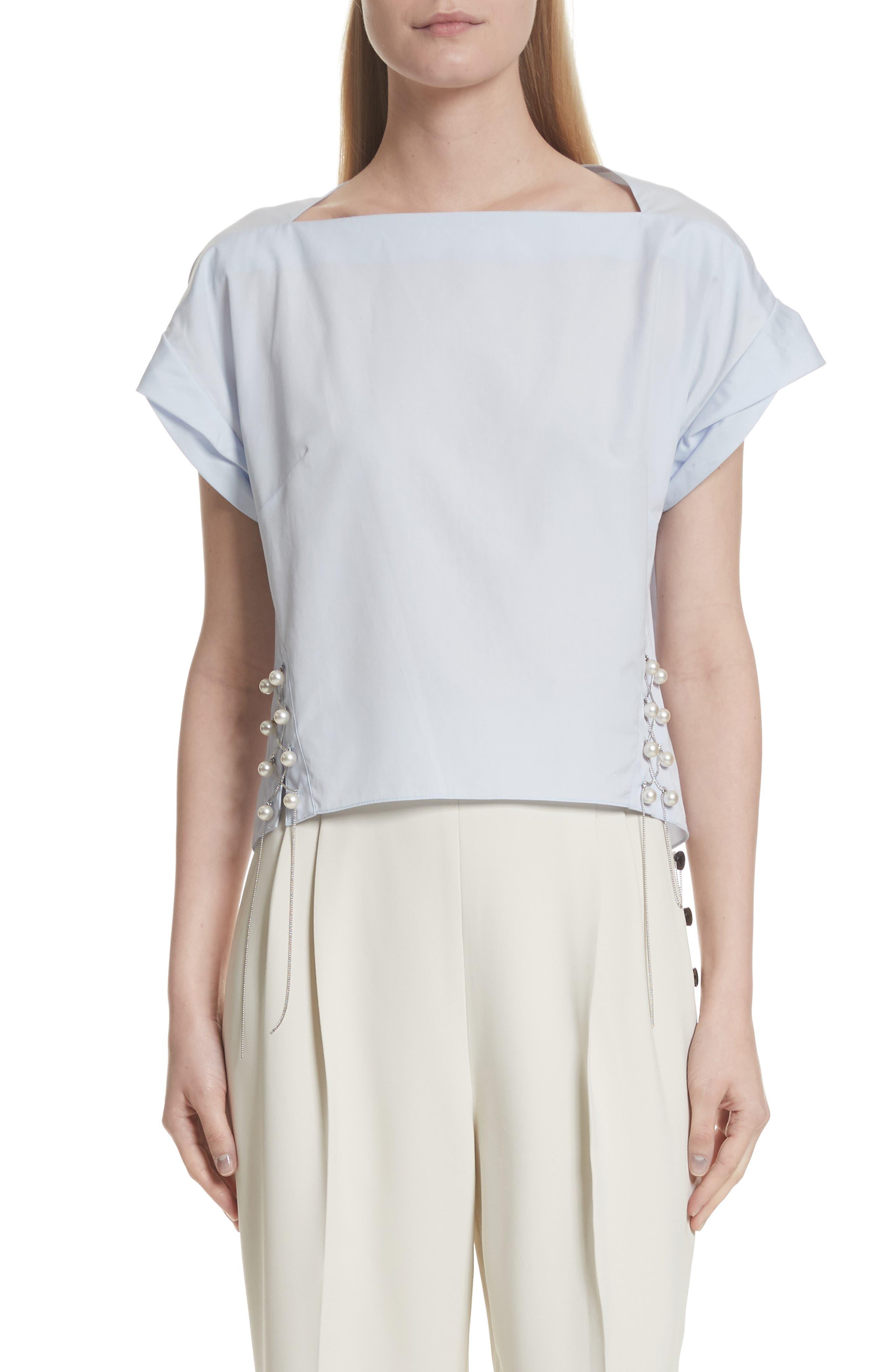 Faux Pearl & Chain Lacing Cotton Top,                         Main,                         color, 450