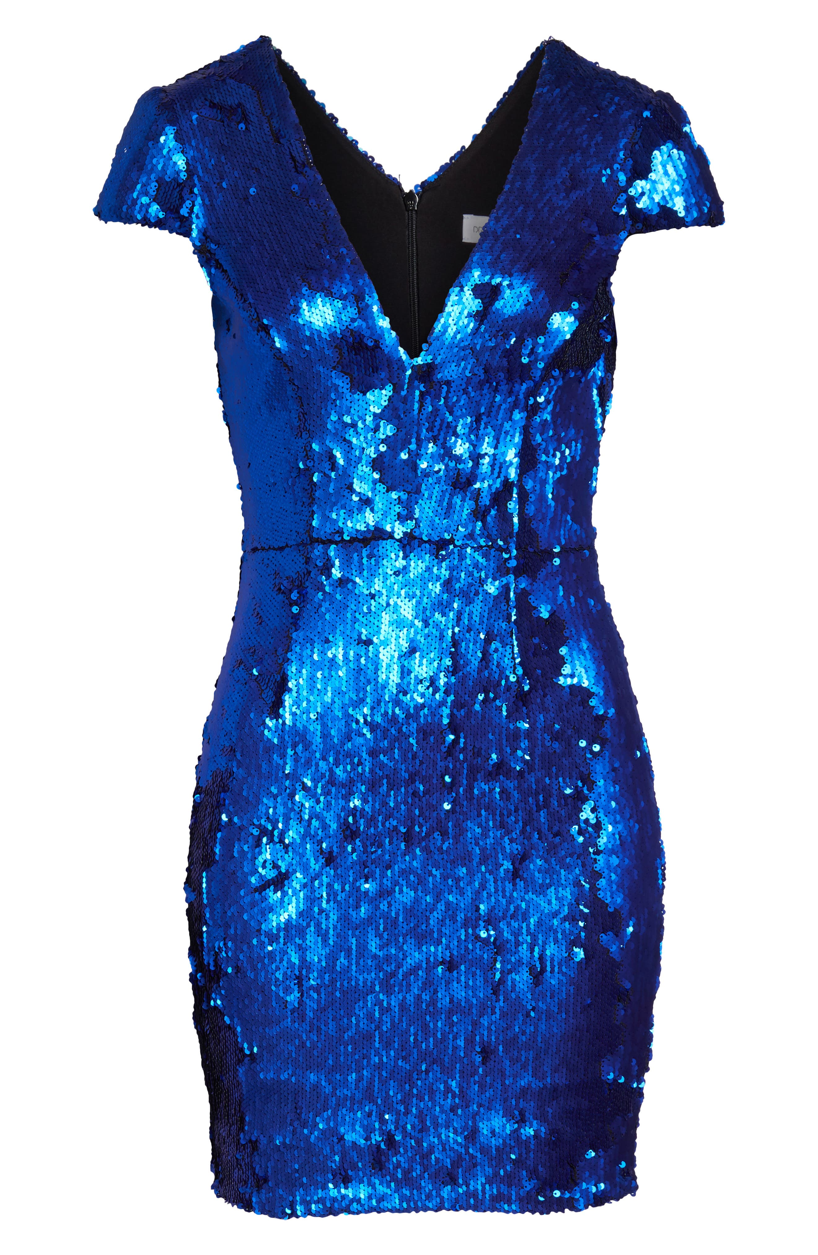 Zoe Sequin V-Neck Cocktail Sheath Dress,                             Alternate thumbnail 7, color,                             ELECTRIC BLUE