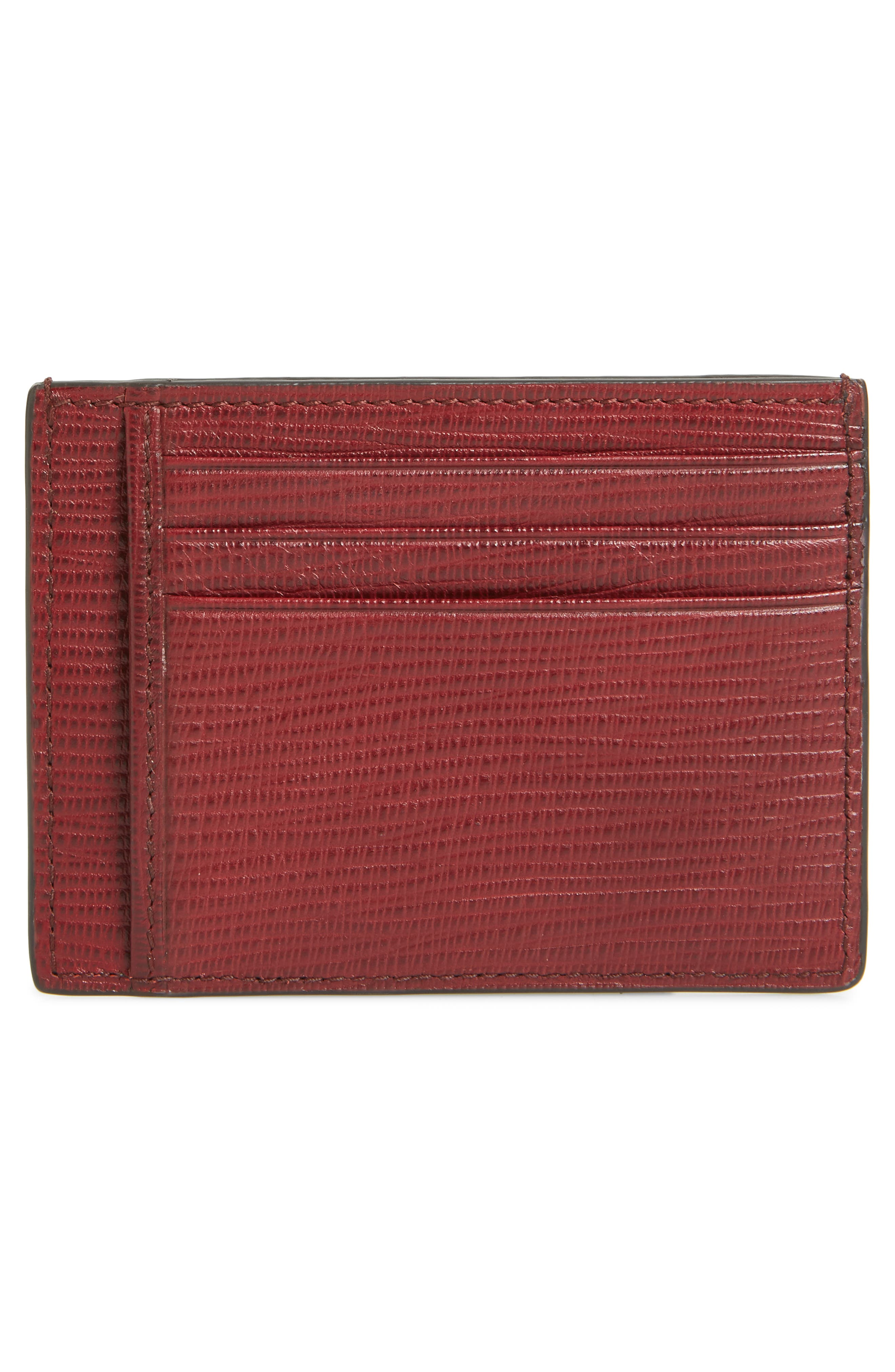 Leather Card Case,                             Alternate thumbnail 2, color,                             DARK RED