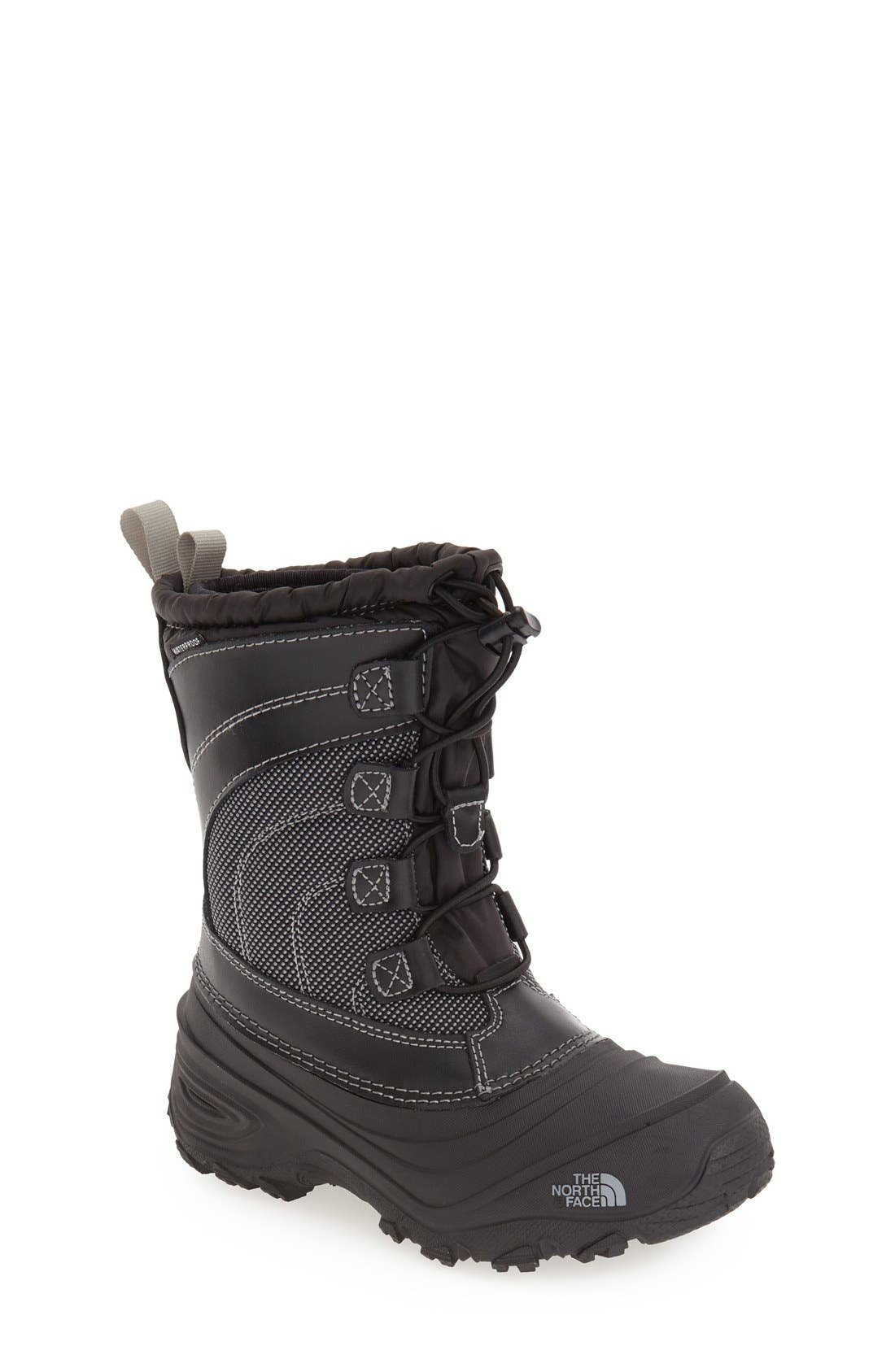 'Alpenglow IV' Bungee Lace Waterproof Boot,                         Main,                         color, BLACK/ BLACK