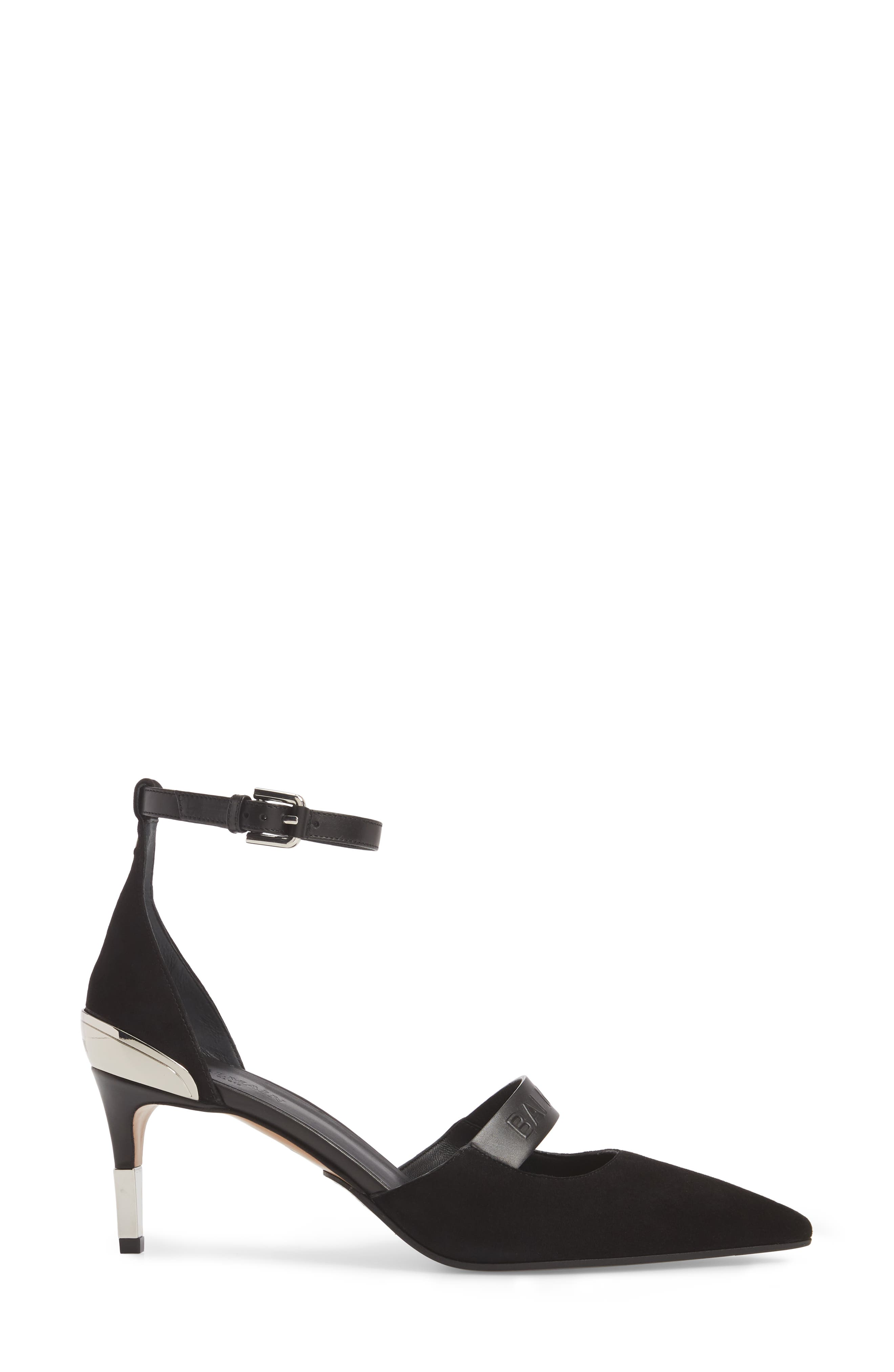 Chance Ankle Strap Pointy Toe Pump,                             Alternate thumbnail 3, color,                             001