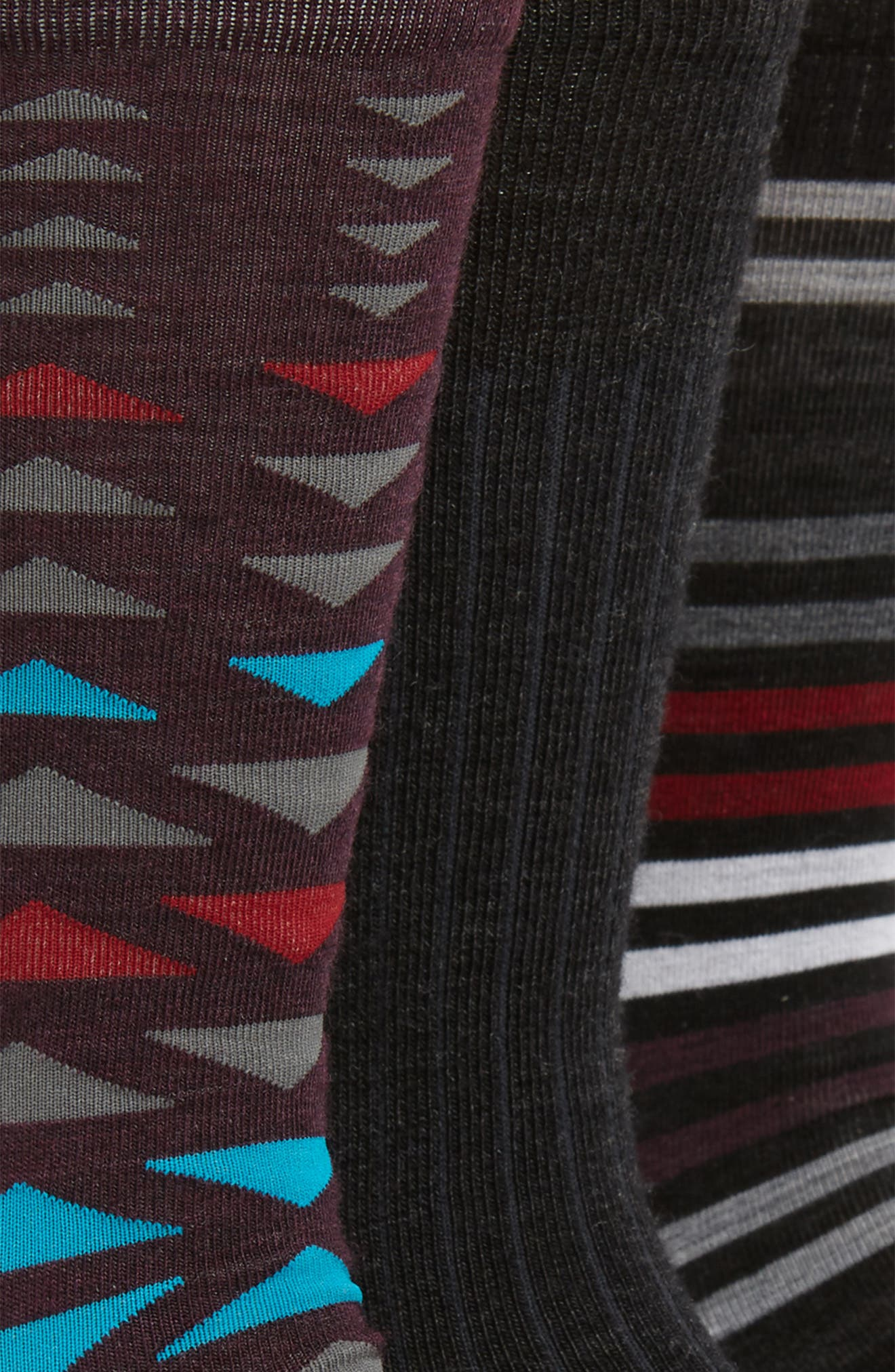 Trio 3-Pack Socks,                             Alternate thumbnail 2, color,                             CHARCOAL HEATHER/ TIBETAN RED