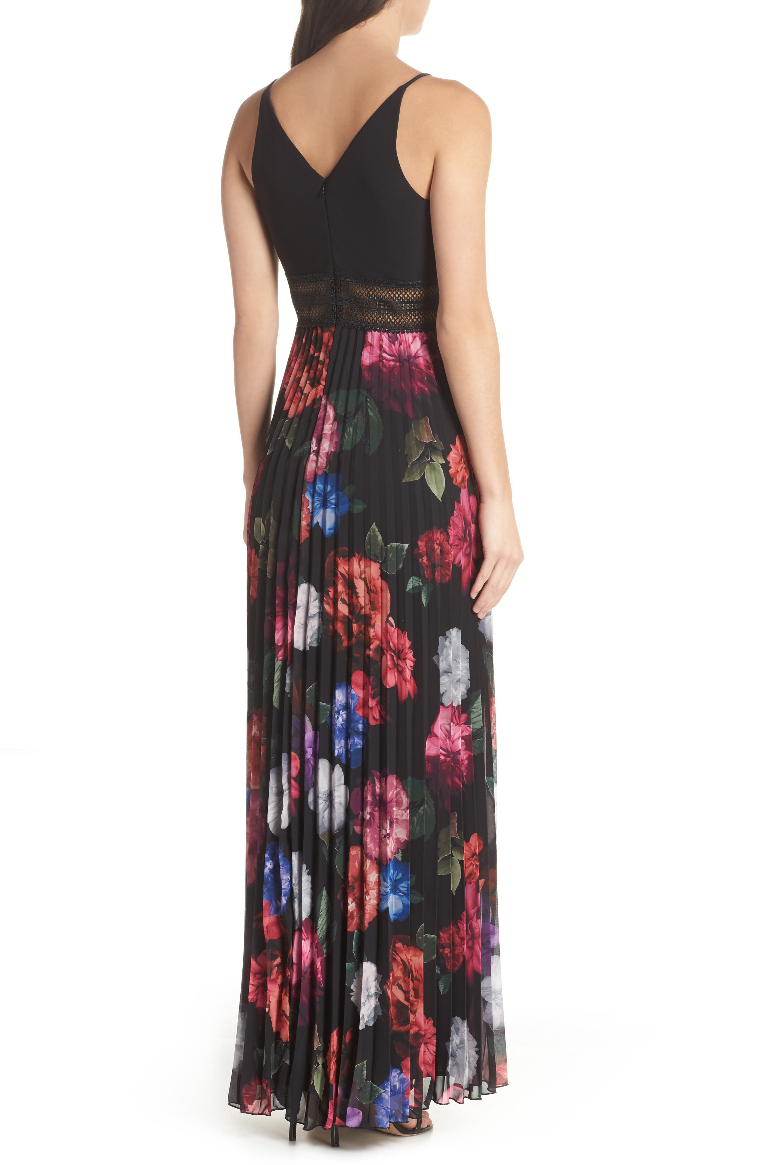 Floral Pleated Gown,                             Alternate thumbnail 2, color,                             001